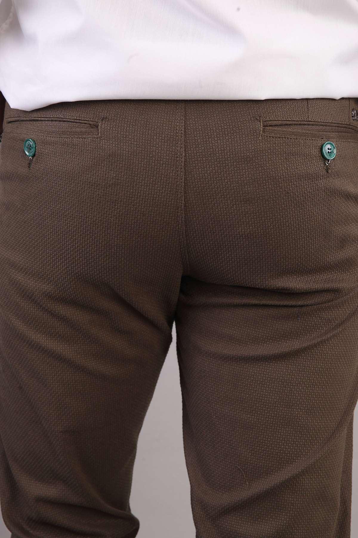 Petek Desenli Yan Cepli Slim Fit Pantolon Haki