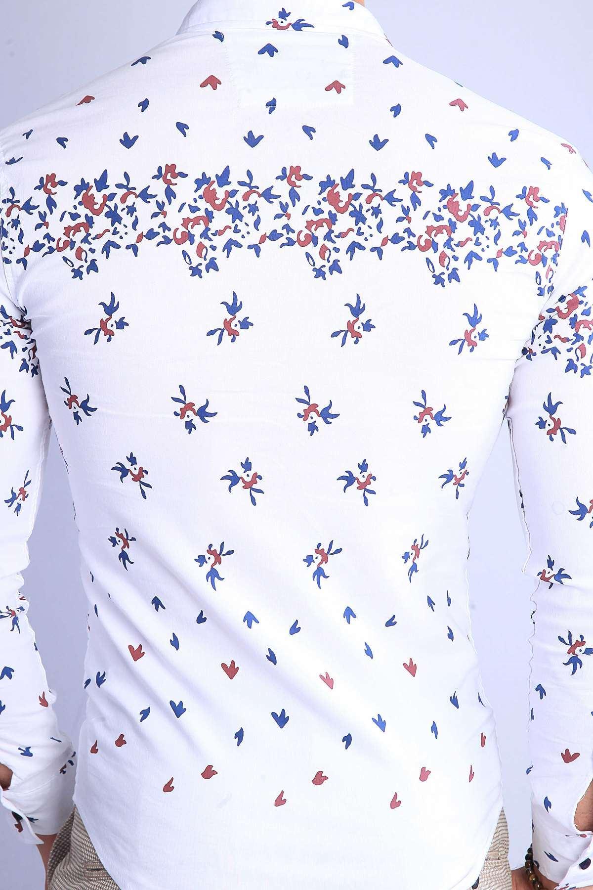 Pano Baskı Desenli Slim Fit Gömlek Beyaz-Lacivert