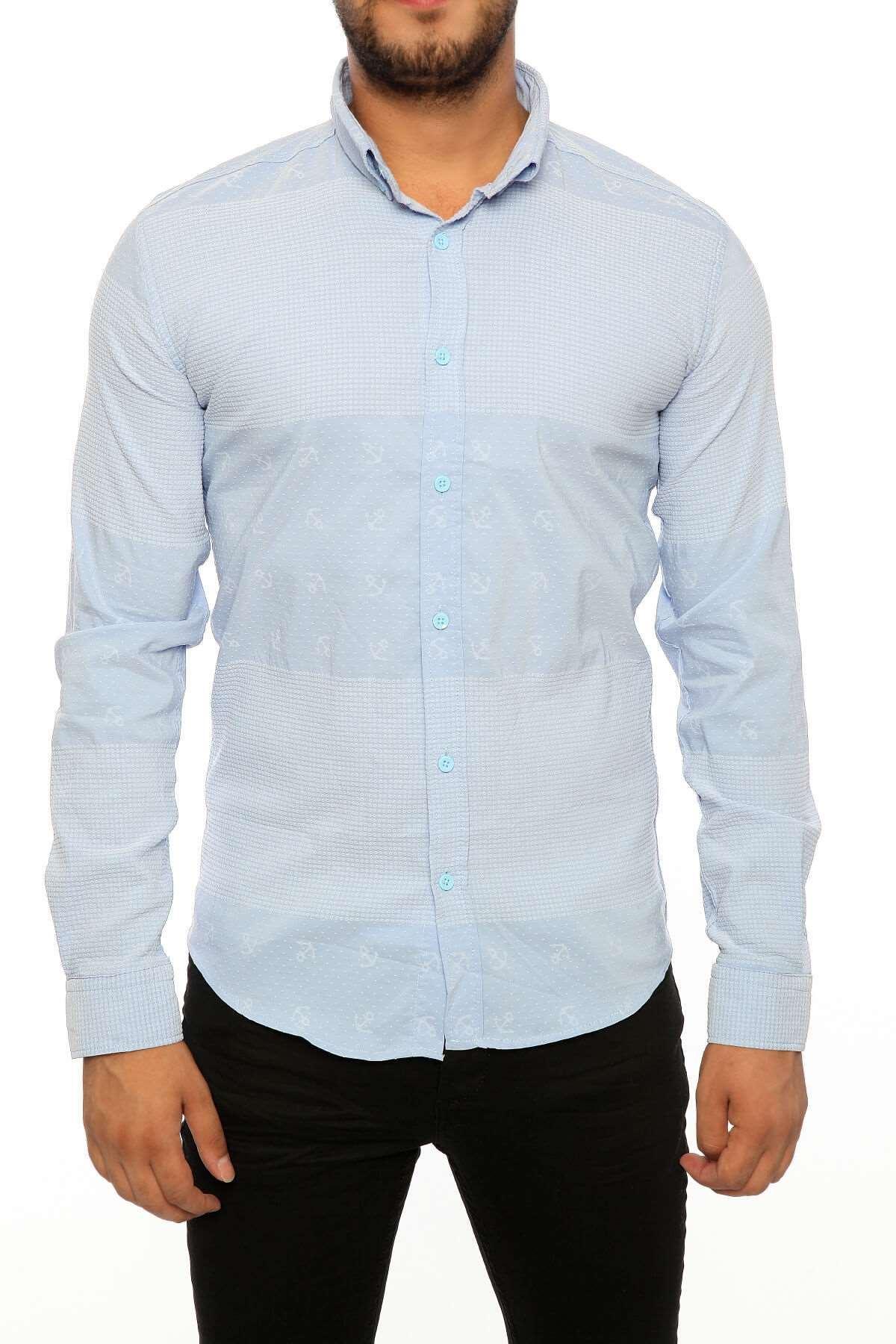 Petek Armürlü Slim Fit Gömlek Mavi