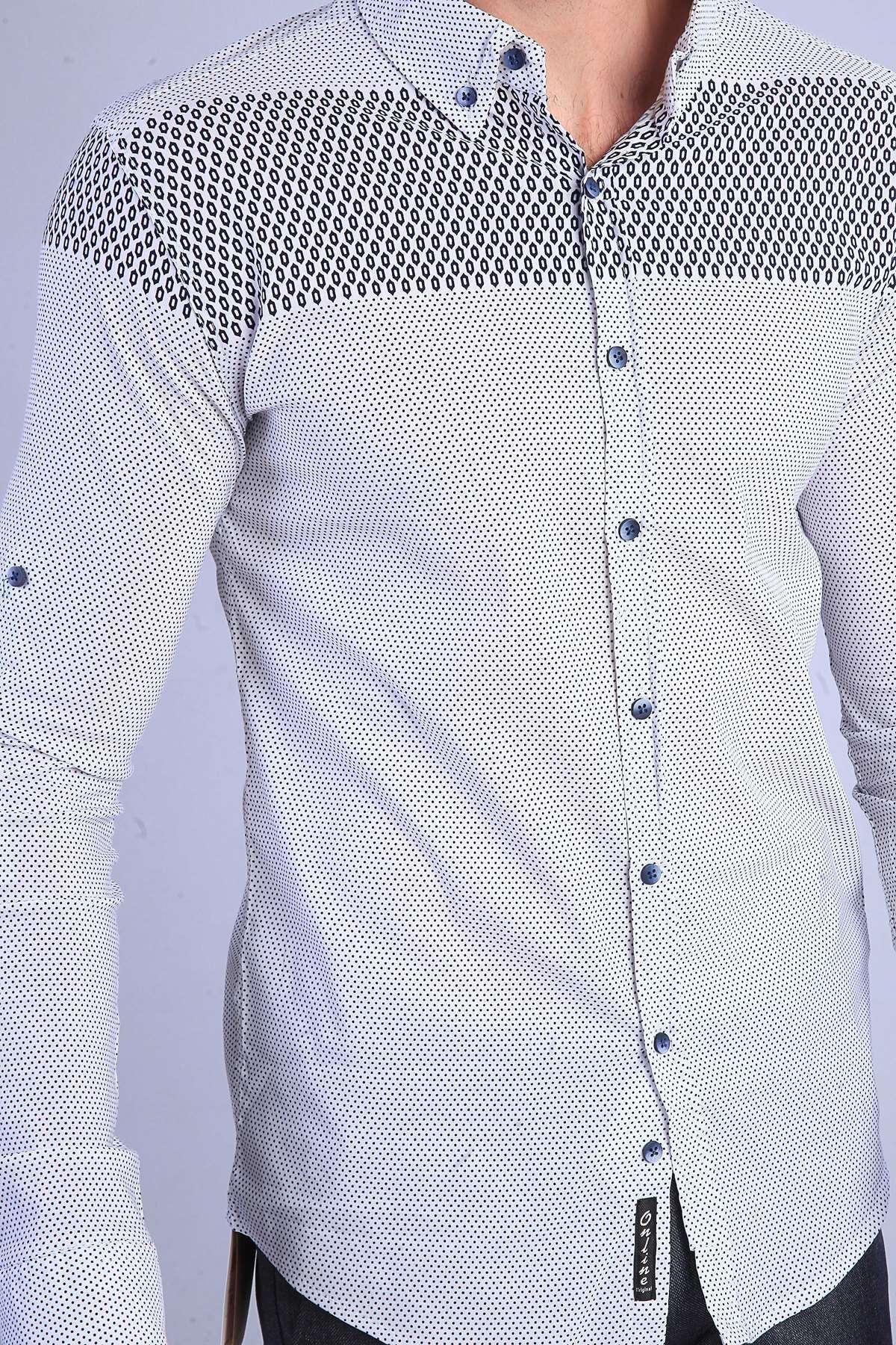 Pano Baskılı Noktalı Slim Fit Gömlek Beyaz