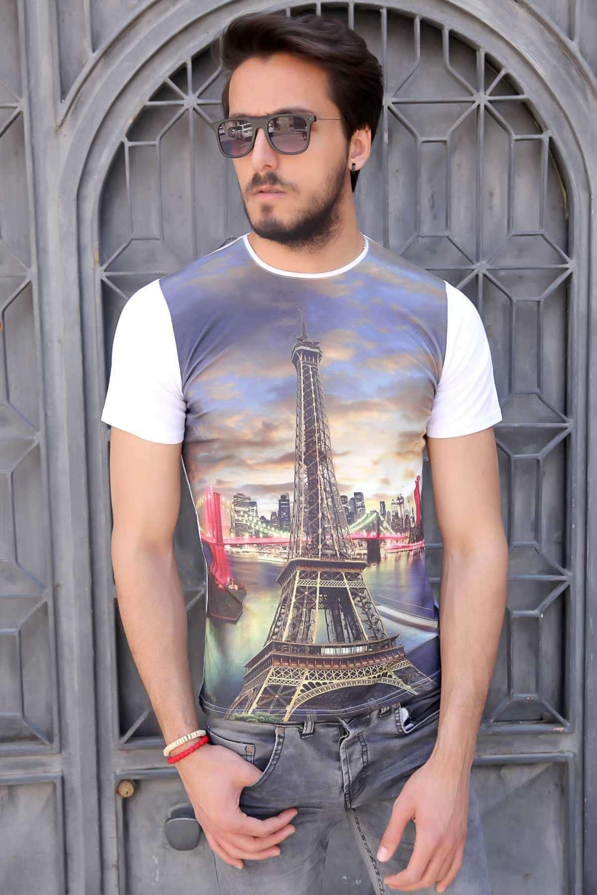 Paris Kule Baskı Sıfır Yaka Dijital Tişört Beyaz