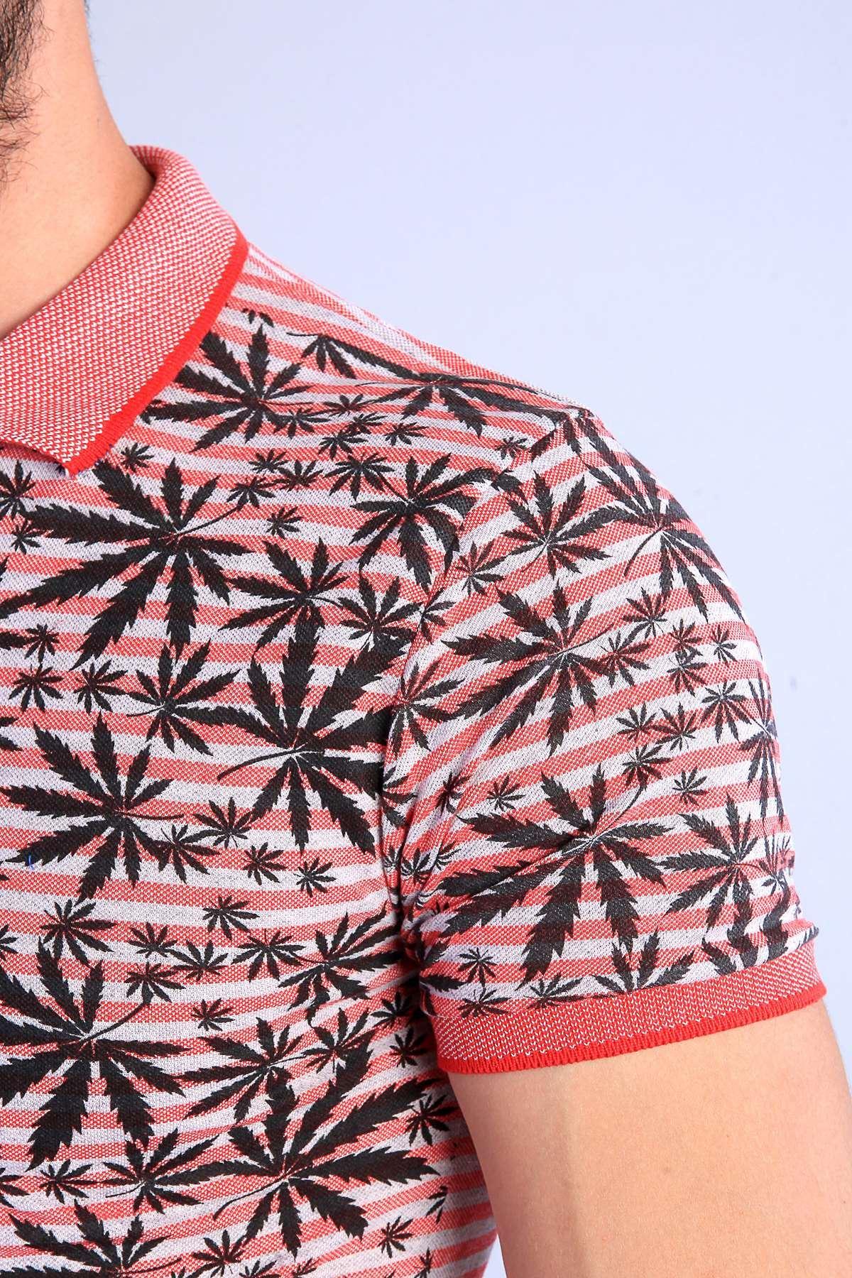 Palmiye Yaprak Desenli Polo Yaka Tişört Nar