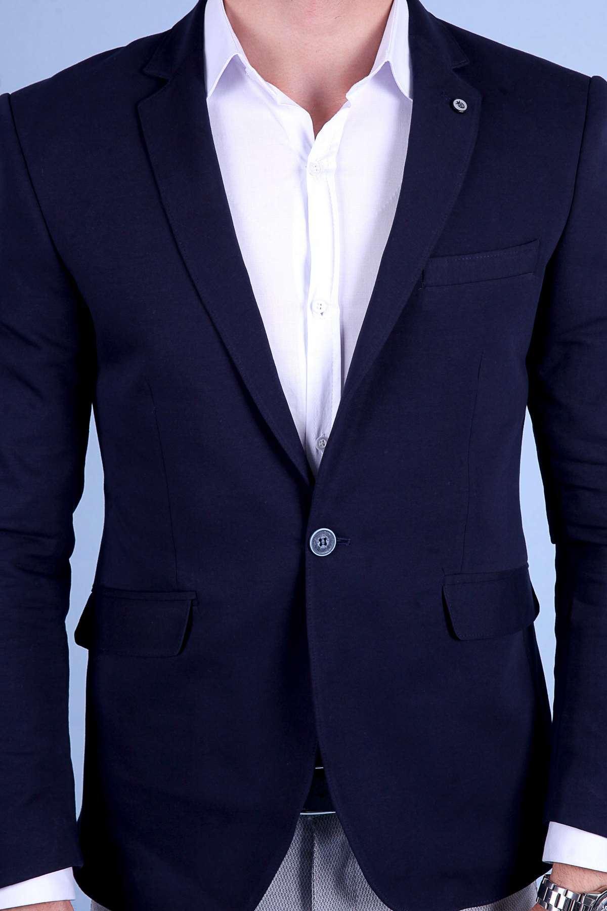Penye Kumaş Slim Fit Blazer Ceket Lacivert