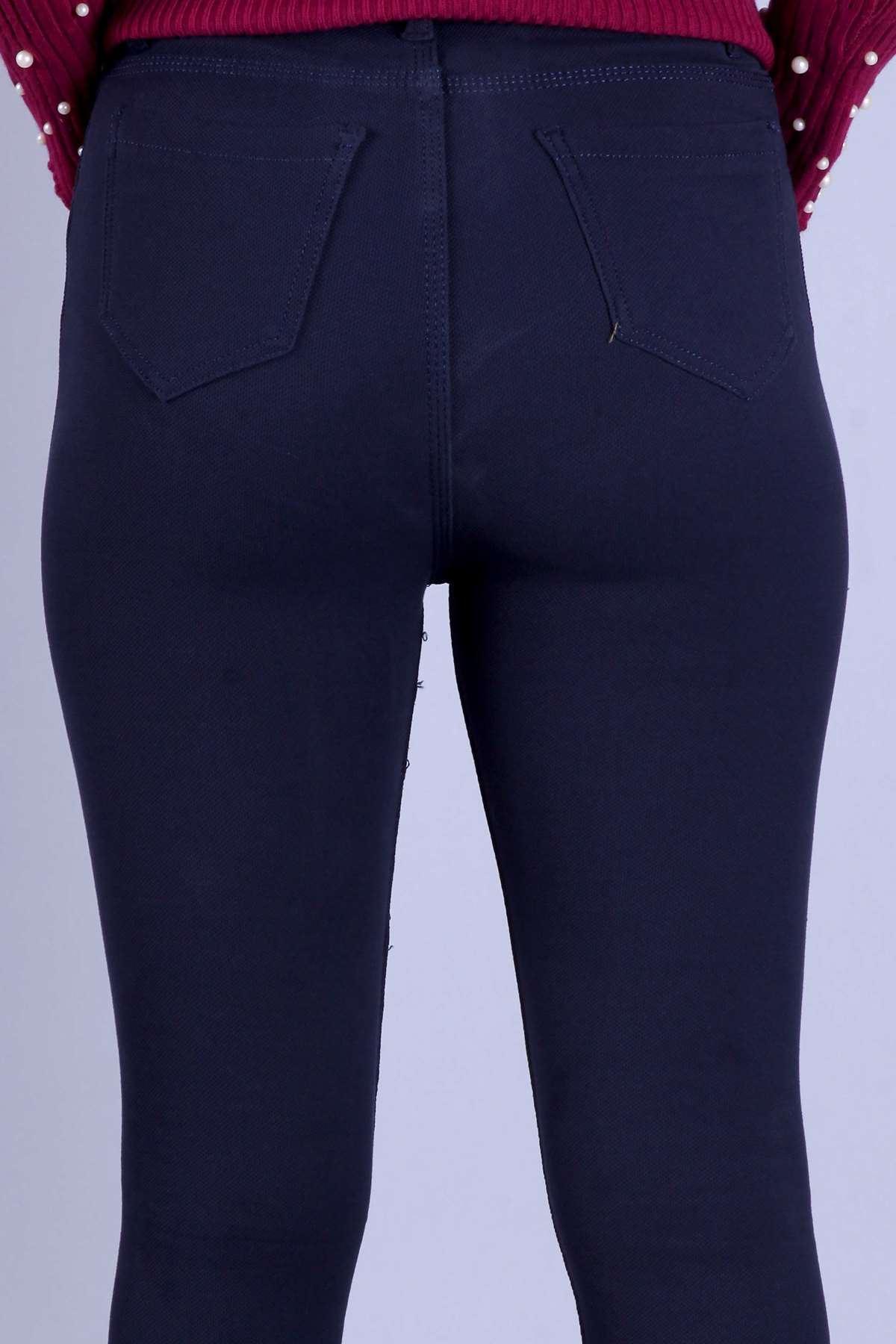 Petek Desen Dar Paça Yüksek Bel Pantolon Koyu Lacivert