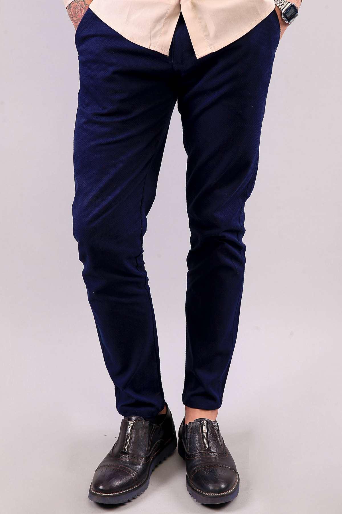 Petek Desenli Yan Cepli Slim Fit Pantolon Laci