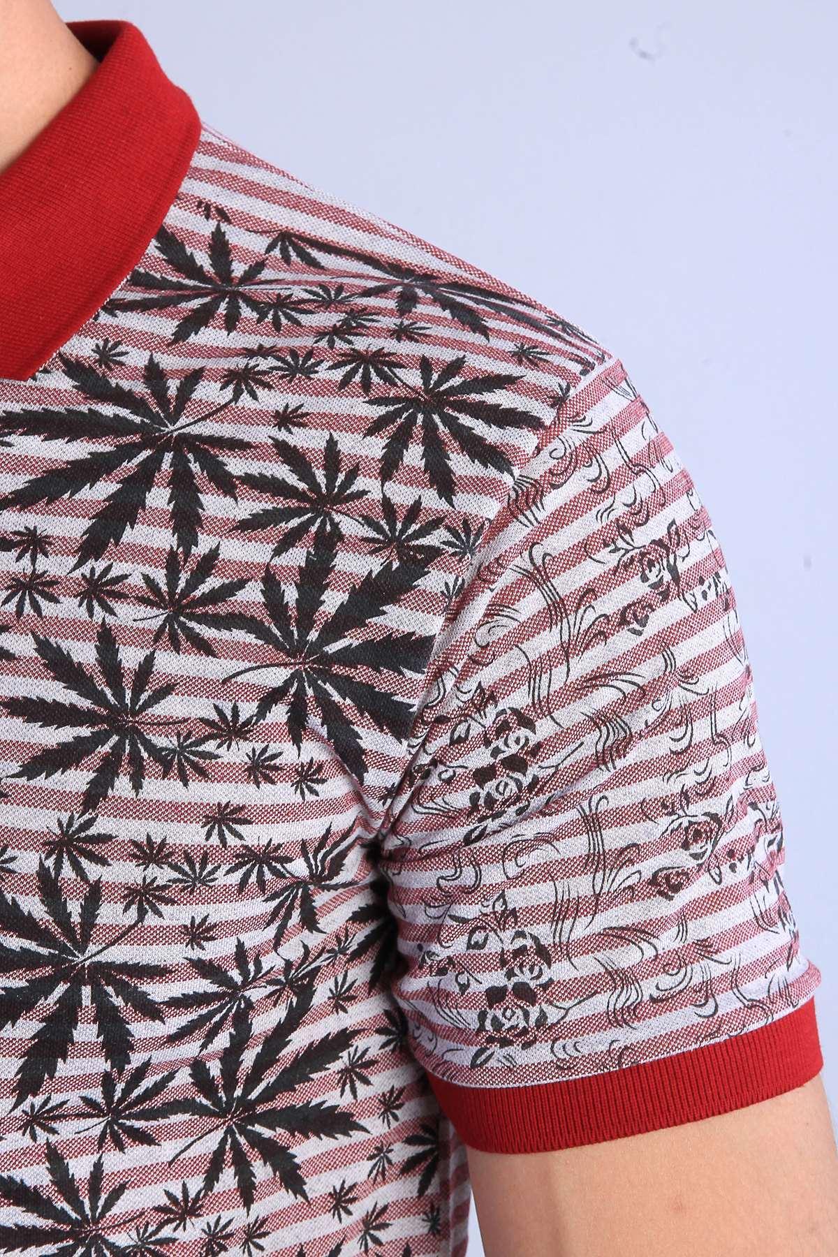 Palmiye Yaprak Desenli Polo Yaka Tişört Bordo