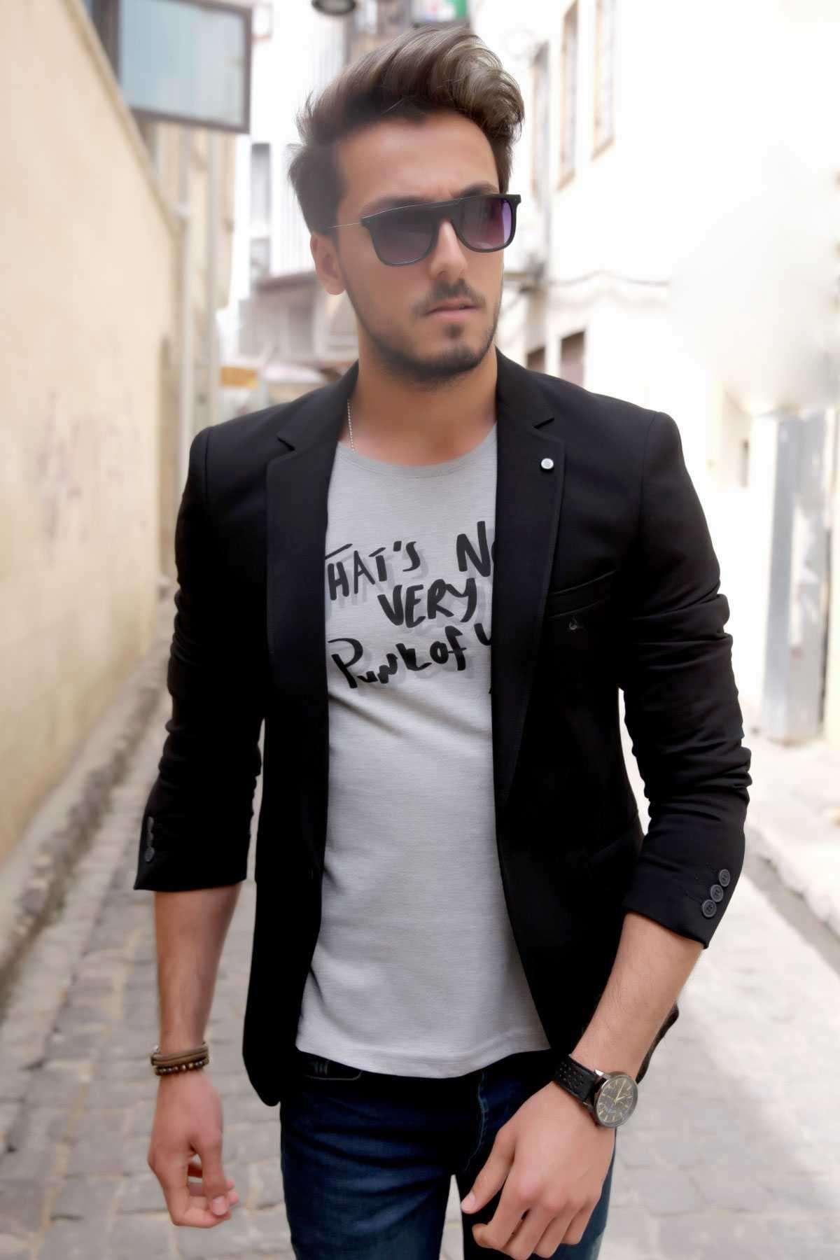 Penye Kumaş Slim Fit Blazer Ceket Siyah