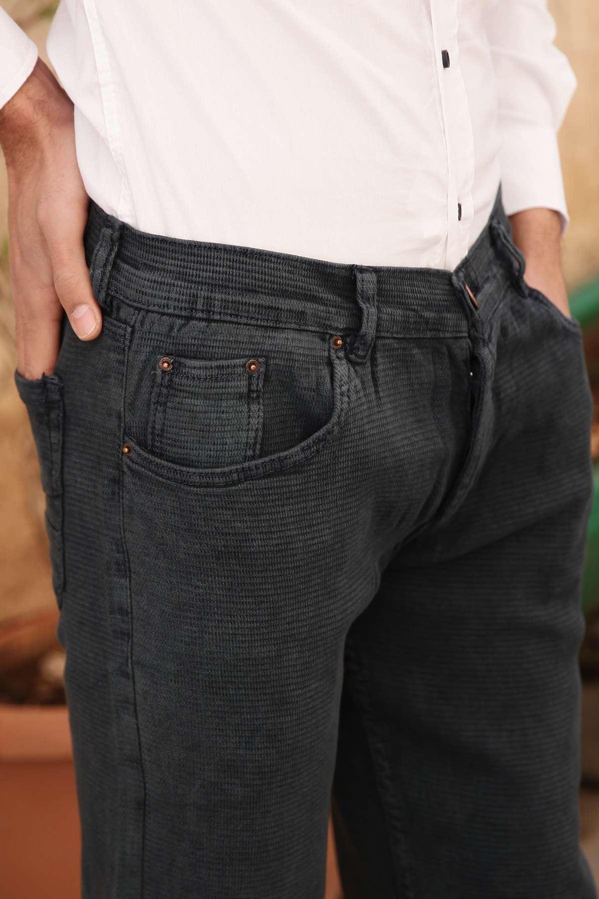 Petek Desenli Klasik Kesim Kot Pantolon İndigo