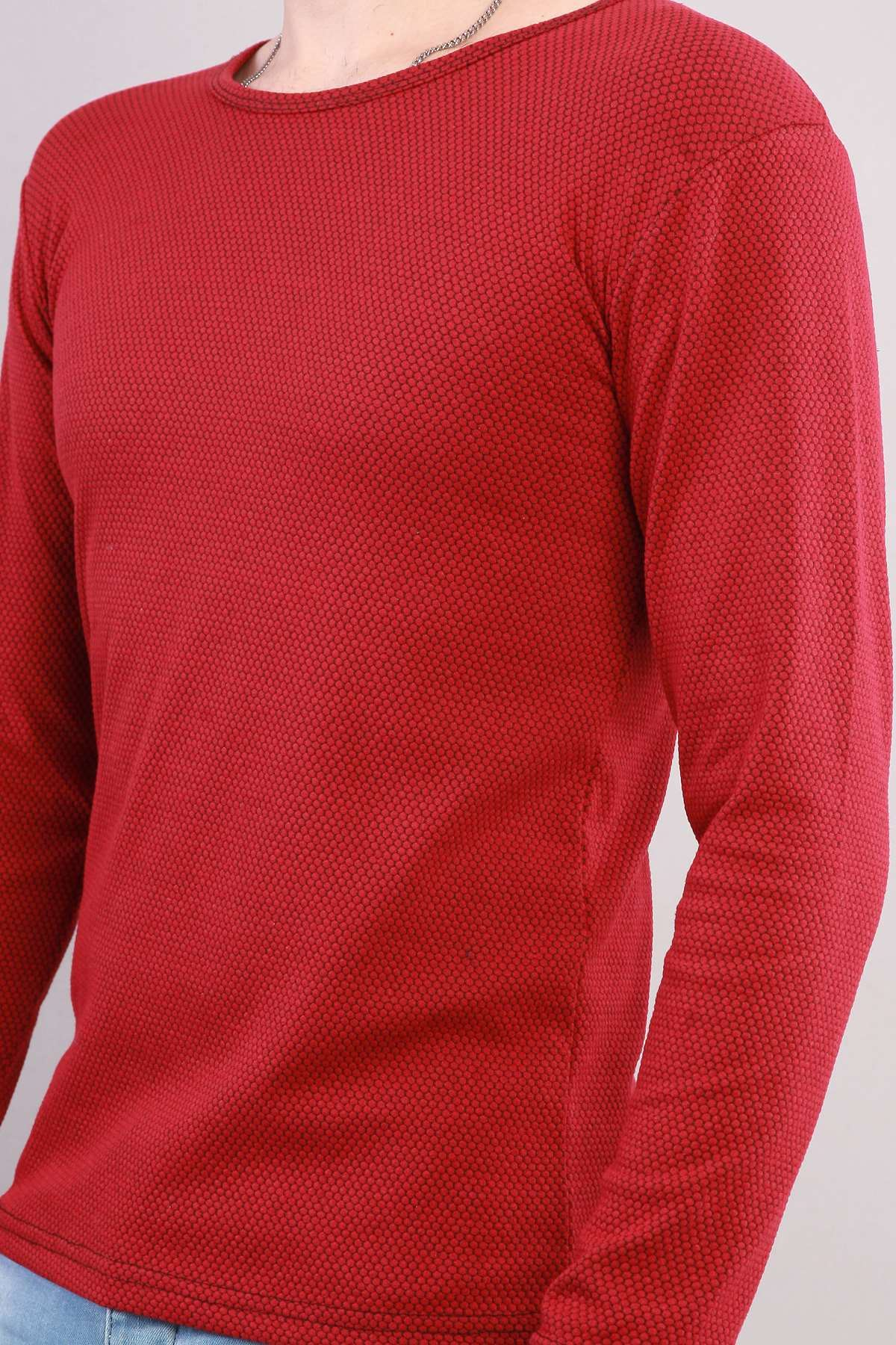 Petek Desen 0 Yaka Sweatshirt Bordo