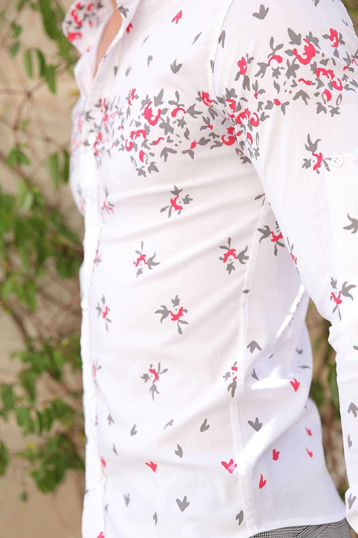 Pano Baskı Desenli Slim Fit Gömlek Beyaz-Kahve