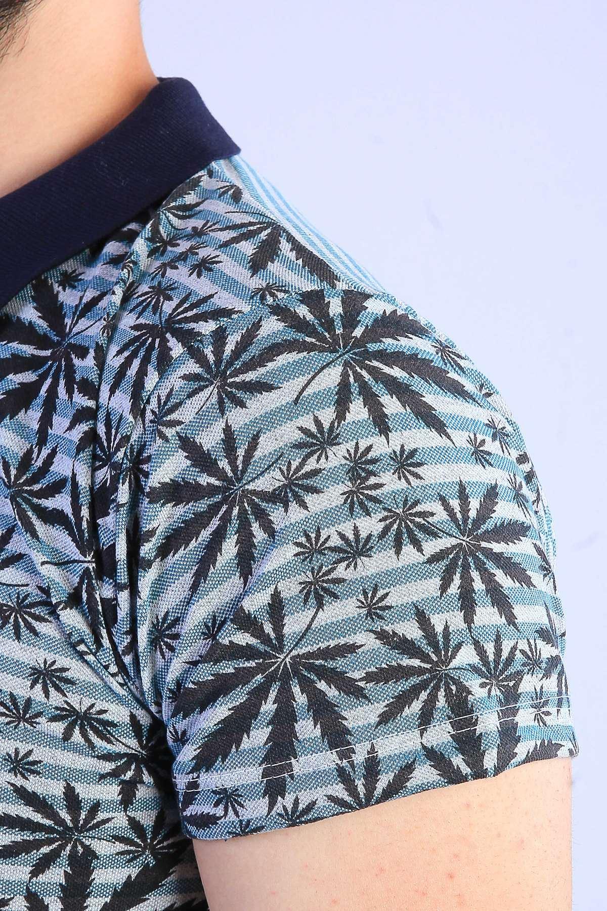 Palmiye Yaprak Desenli Polo Yaka Tişört Tint