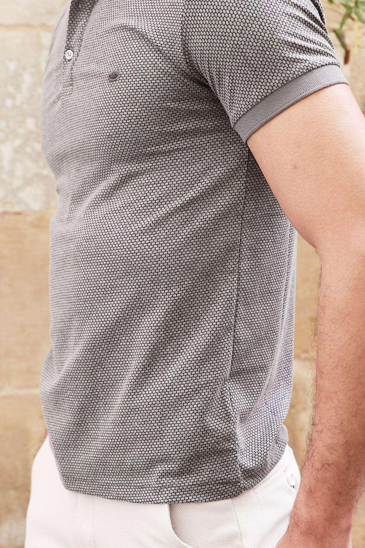 Petek Desenli Polo Yaka Düğmeli Slim Fit Tişört Antrasit