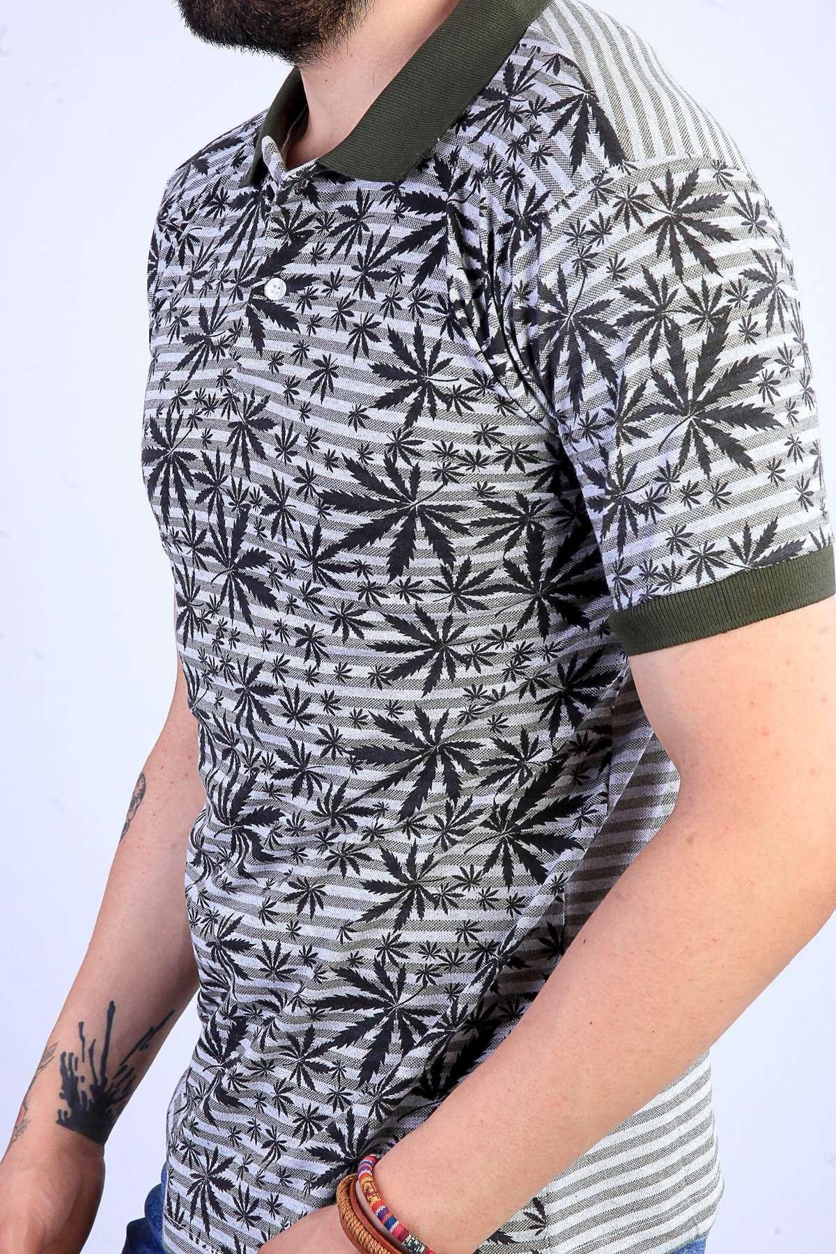 Palmiye Yaprak Desenli Polo Yaka Tişört Haki