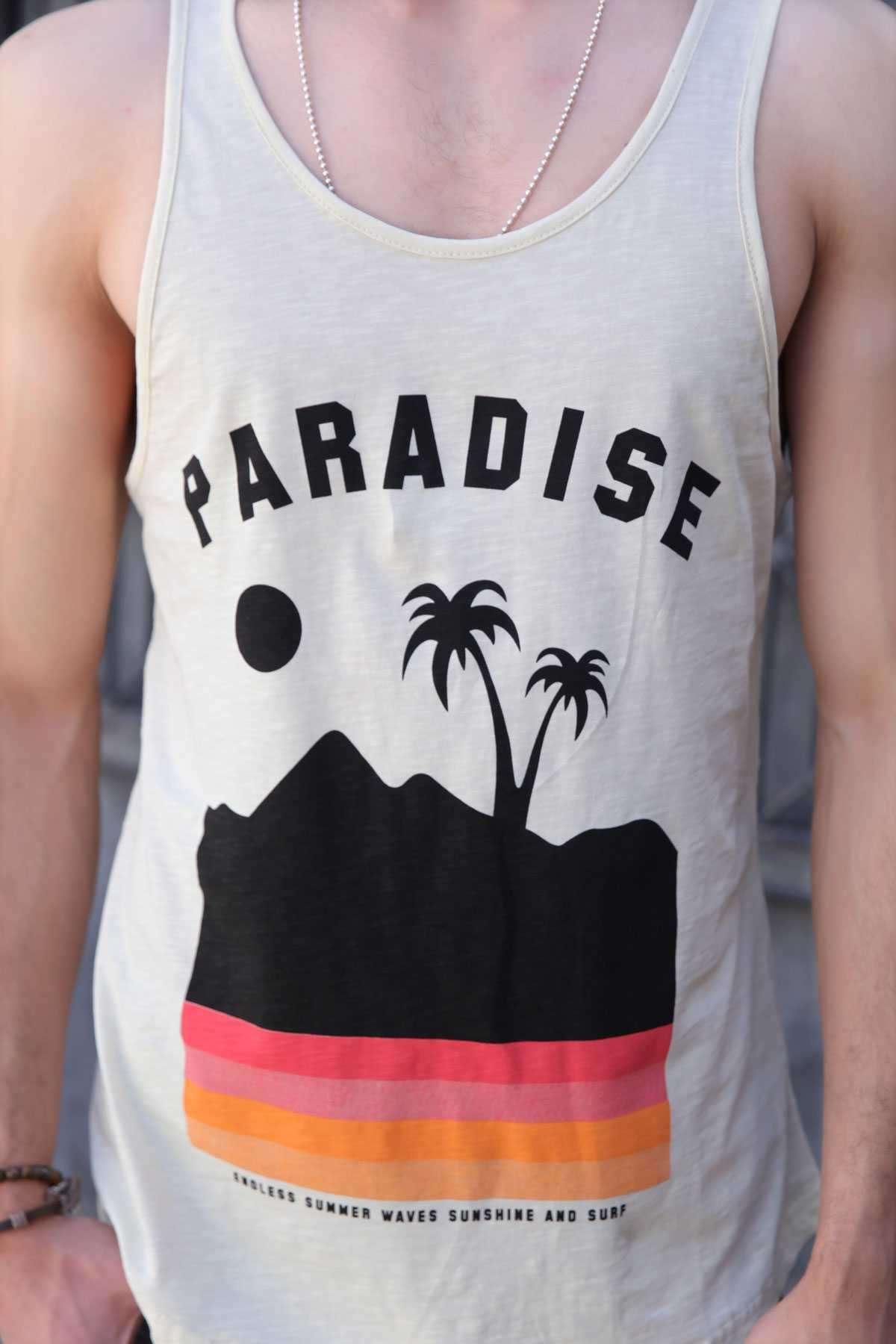 Paradise Yazılı Palmiye Baskılı Slim Fit Atlet Sarı