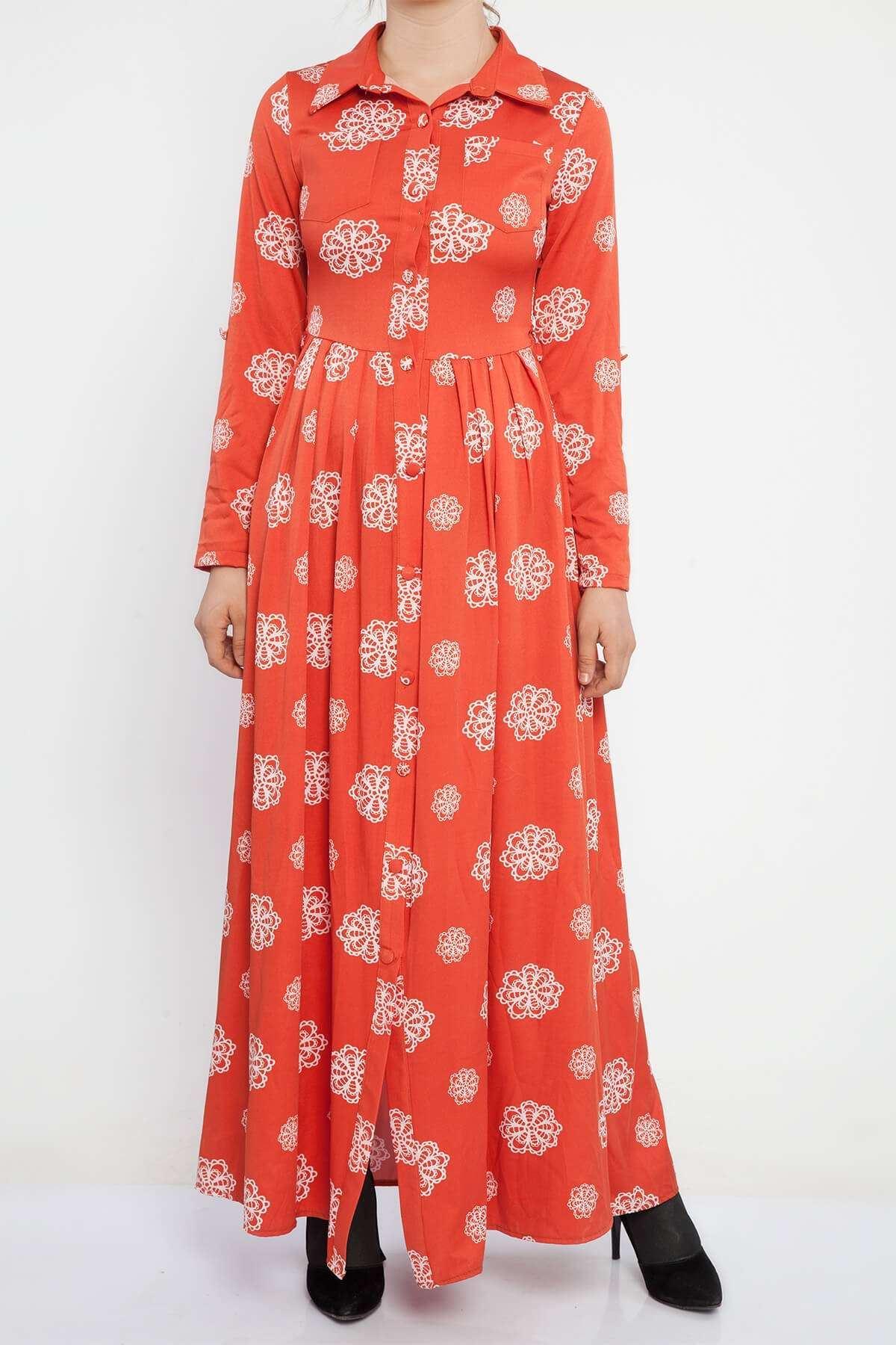 Pliseli Ağ Desenli Cep Detaylı Uzun Elbise Kremit