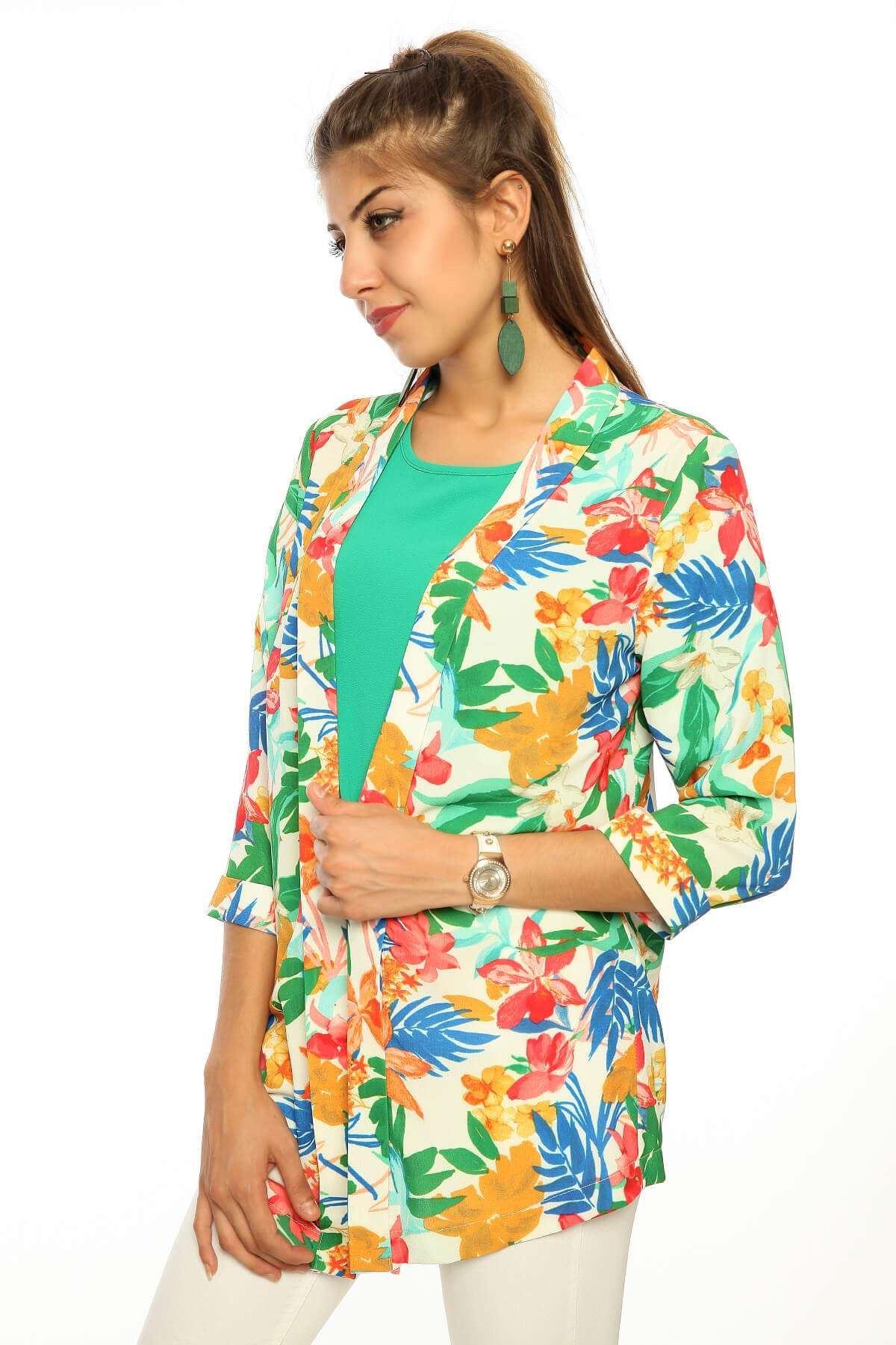 Renkli Çiçek Desenli Ceket Krem