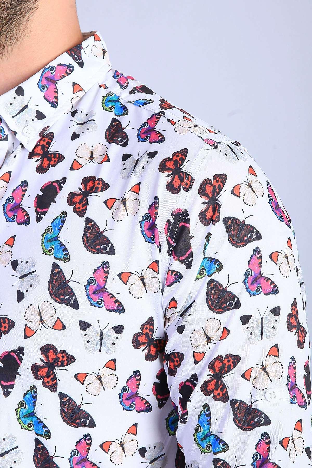 Renkli Kelebek Baskılı Dijital Slim Fit Gömlek Beyaz