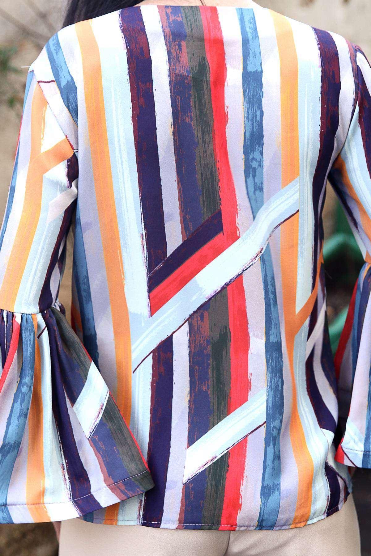 Renkli Boyama Çubuk Desenli İspanyol Fırfır Kol Bluz Renkli