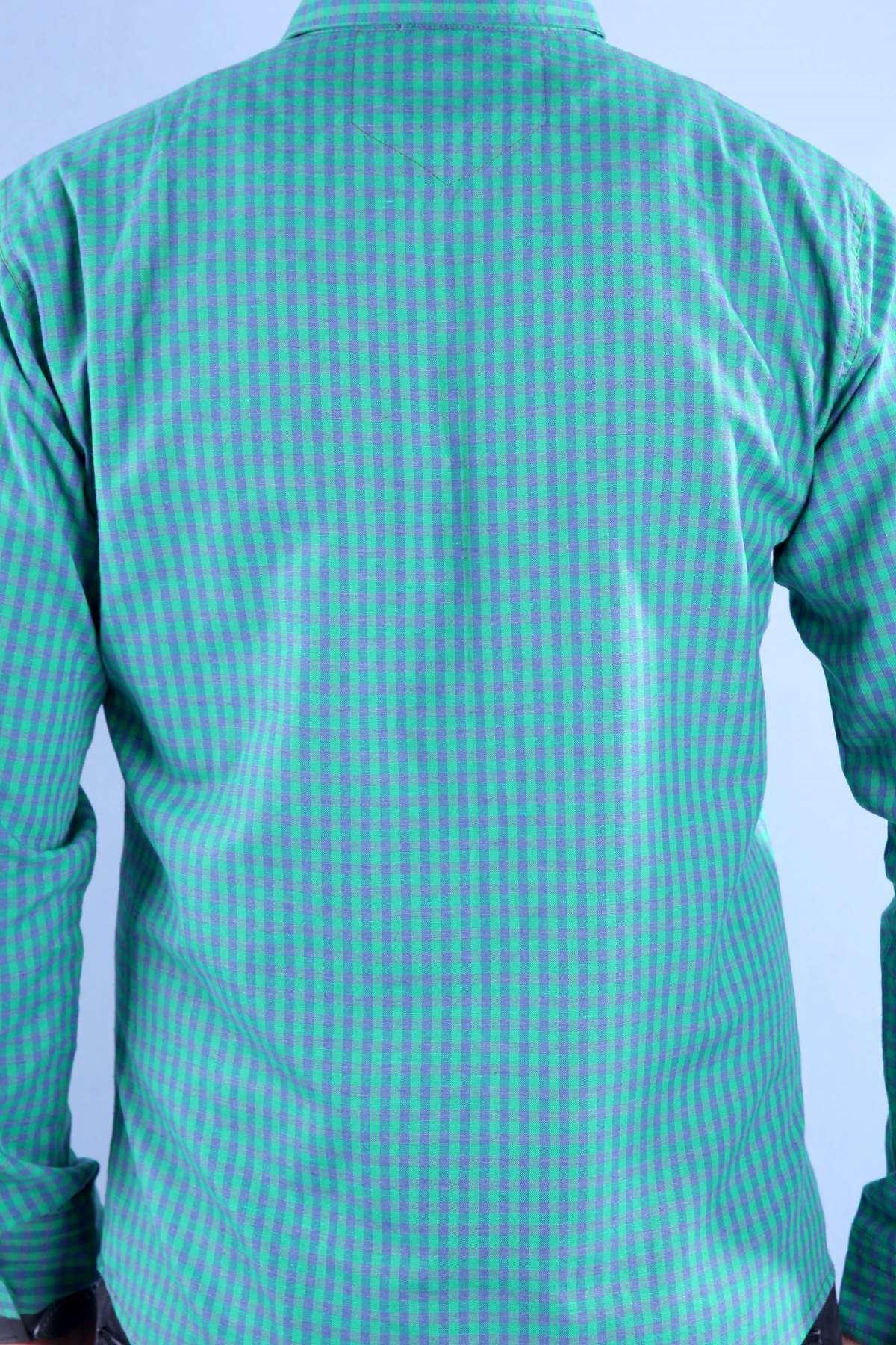 Piti Kare Desenli İki Renkli Slim Fit Gömlek Yeşil-Laci
