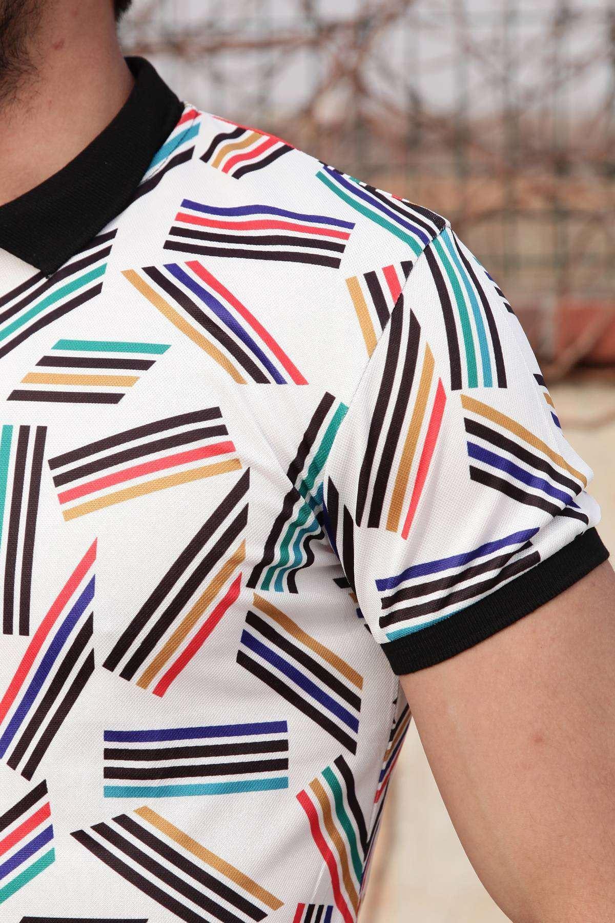 Renkli Çizgi Desenli Polo Yaka Tişört Beyaz
