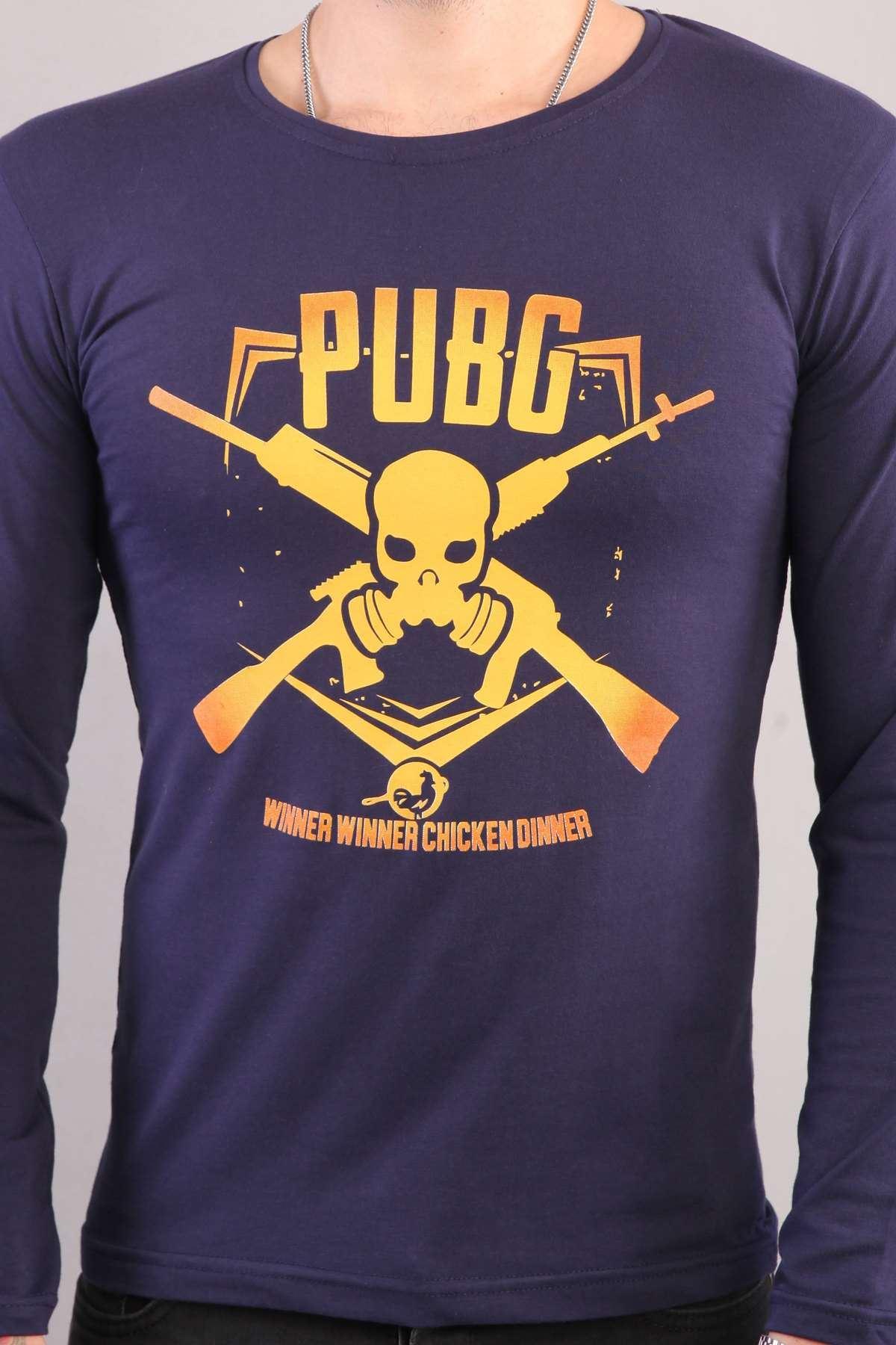 Pubg Yazılı Kuru Kafa Silah Baskılı Sweatshirt Lacivert
