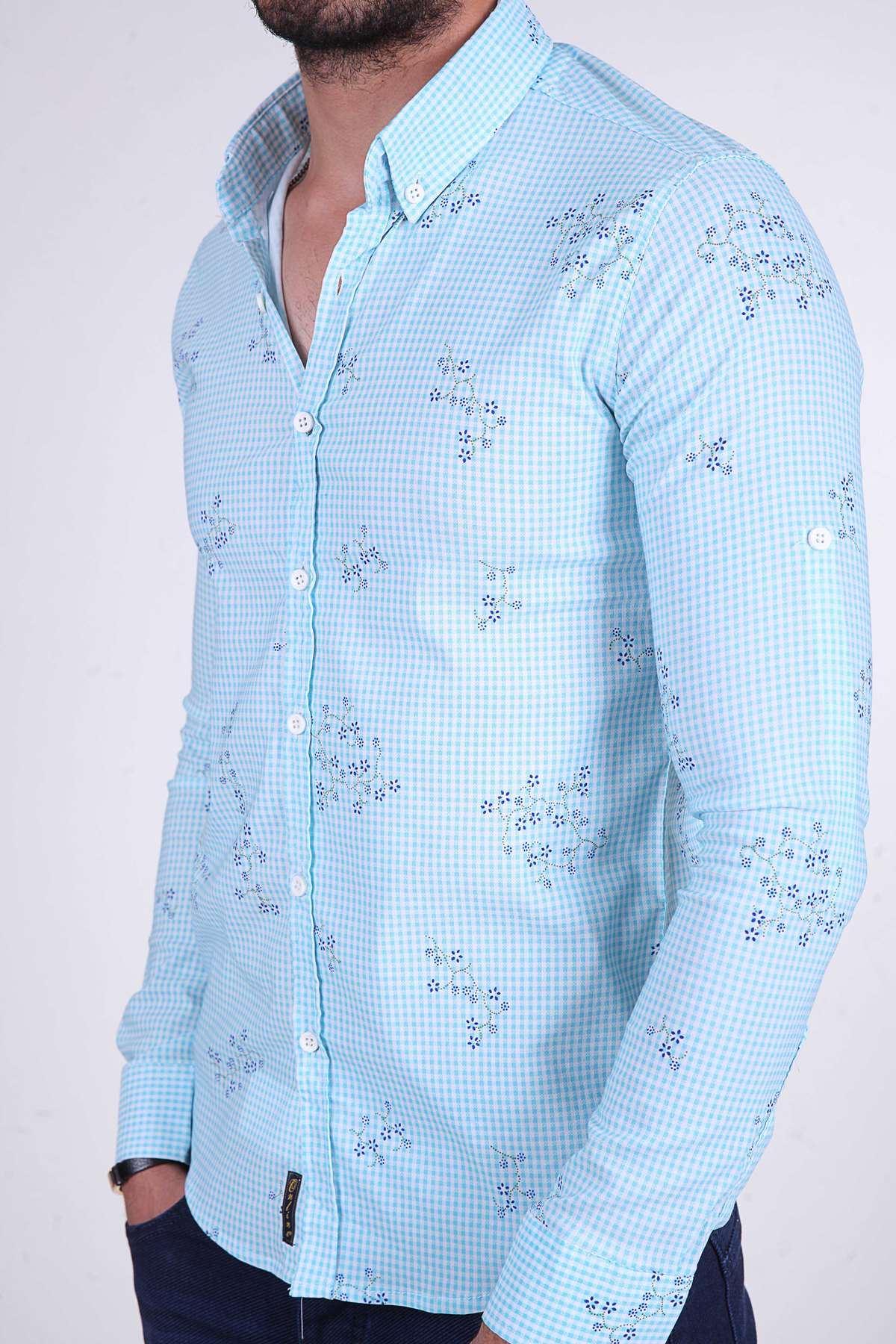 Piti Kareli Çiçek Baskı Desenli Slim Fit Gömlek Mint