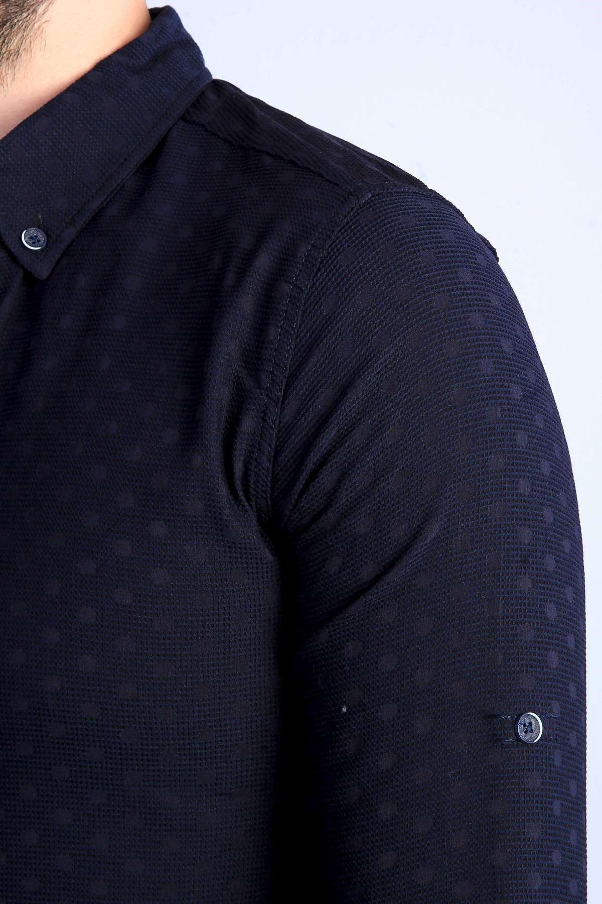 Puanlı Kesik Çizgi Desenli Slim Fit Gömlek Lacivert