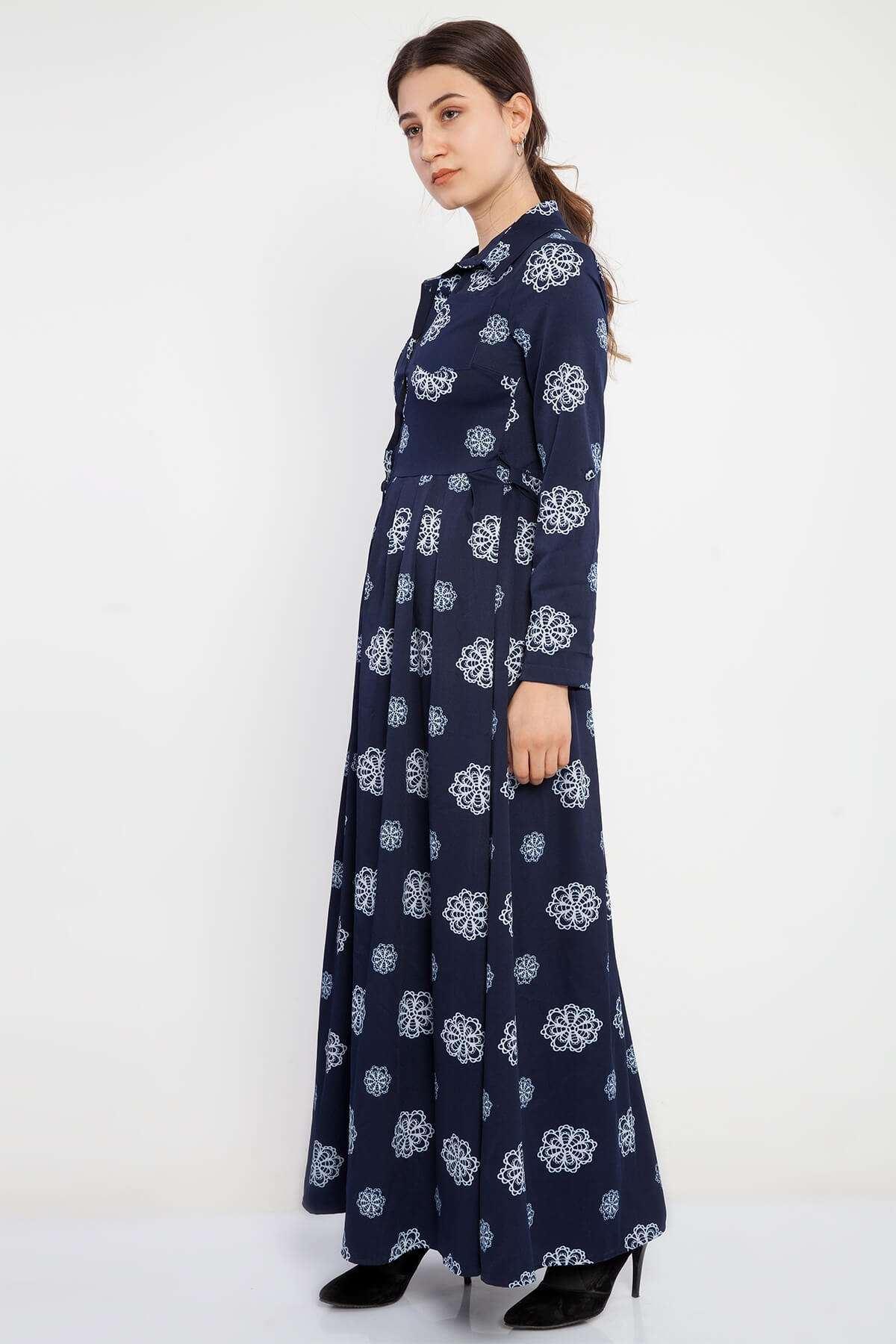 Pliseli Ağ Desenli Cep Detaylı Uzun Elbise Laci
