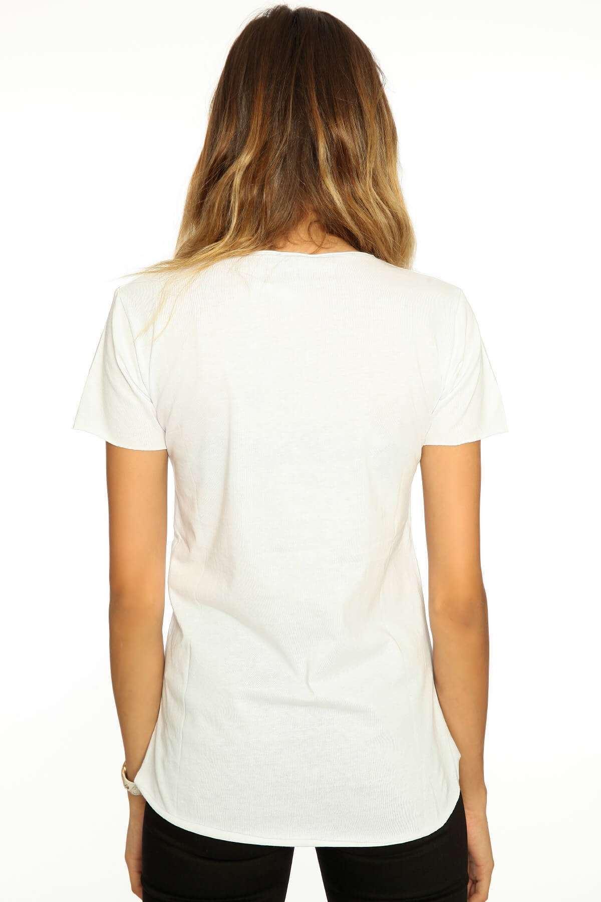 Renkli Yazı Detaylı Baskılı Tişört Beyaz