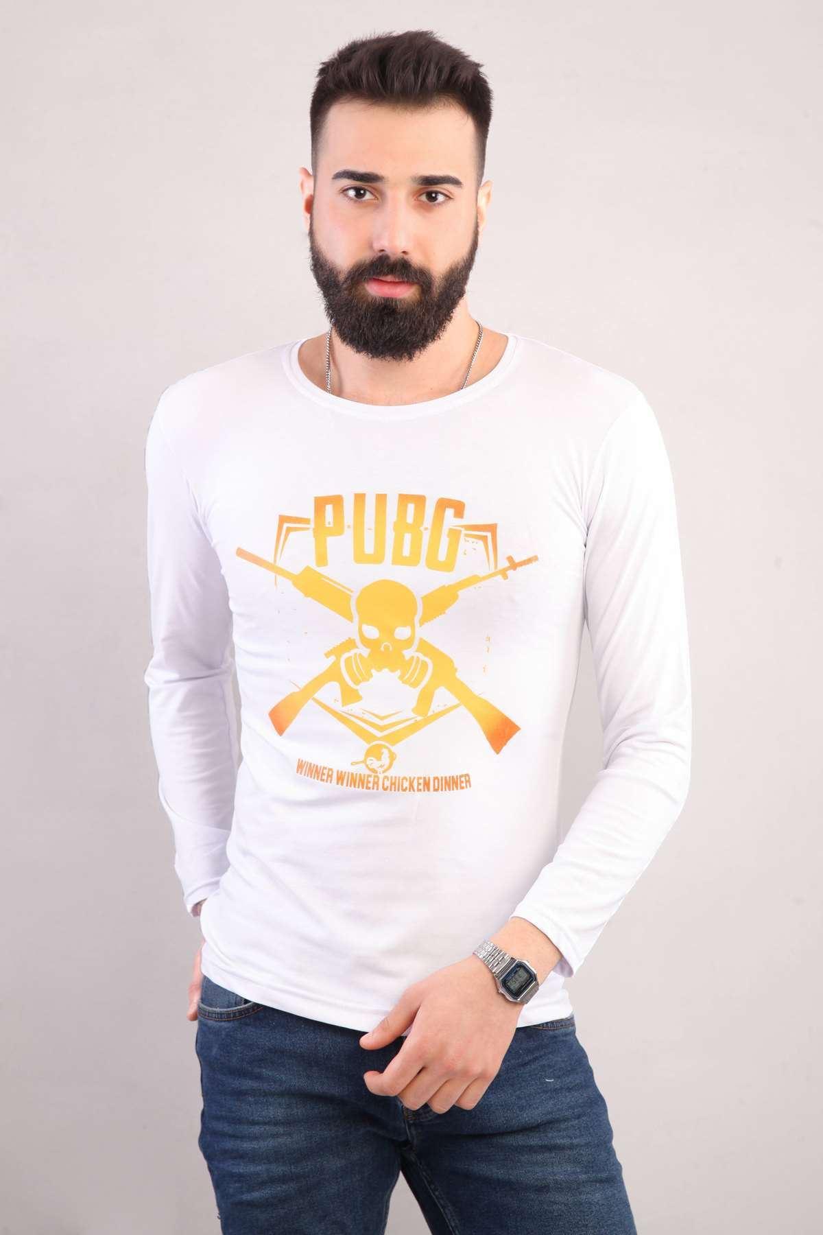 Pubg Yazılı Kuru Kafa Silah Baskılı Sweatshirt Beyaz