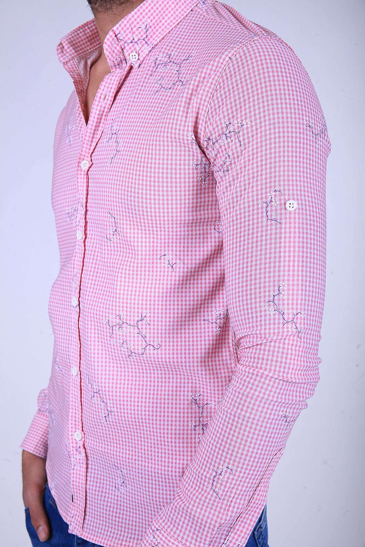 Piti Kareli Çiçek Baskı Desenli Slim Fit Gömlek Pembe