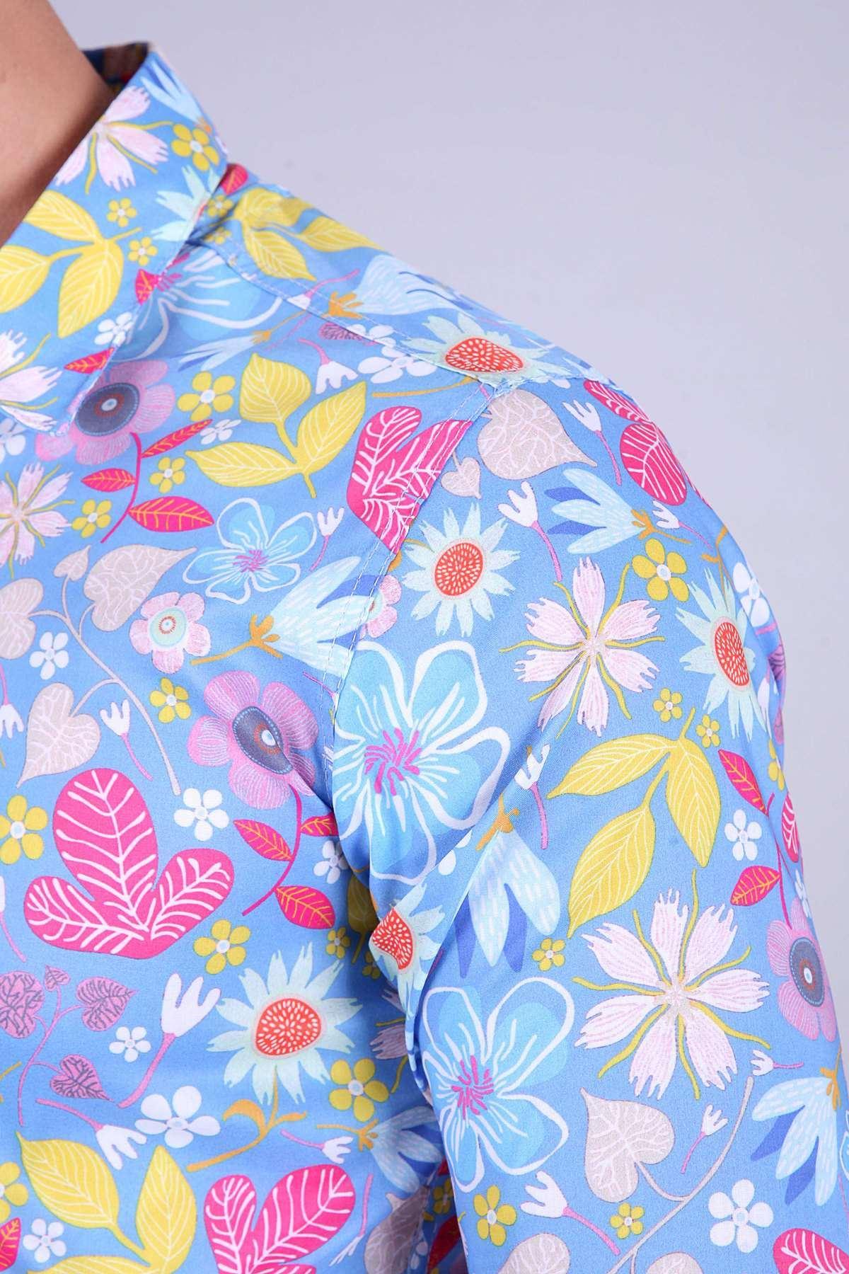 Renkli Karmaşık Çiçek Baskılı Digital Uzun Kol Gömlek Mavi
