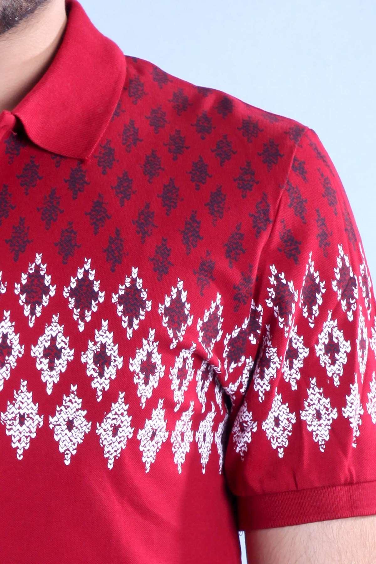 Polo Yaka Dörgen Baskılı Slim Fit Tişört Bordo
