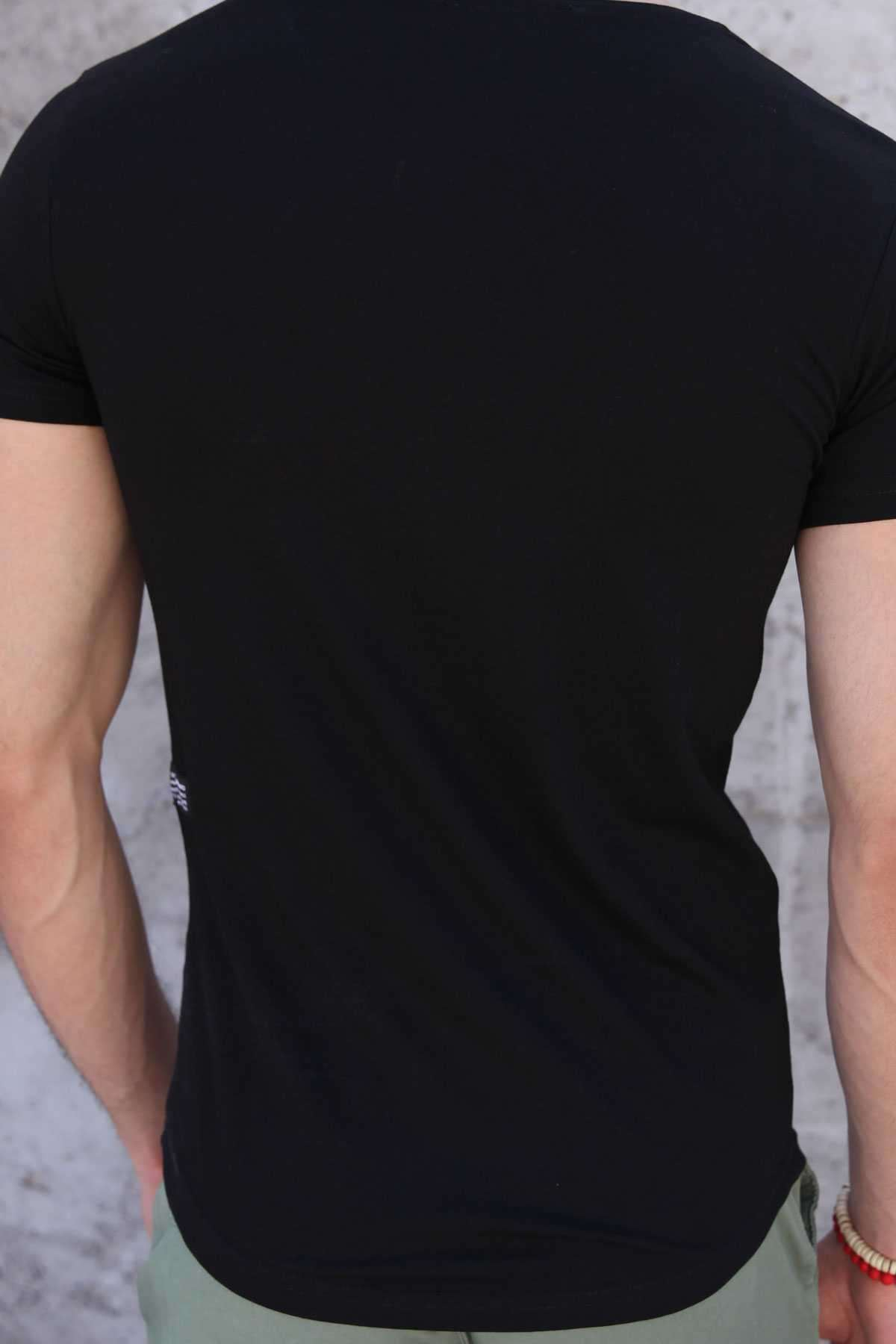 Rising Energy Yazı Baskılı Yamalı Slim Fit Tişört Siyah