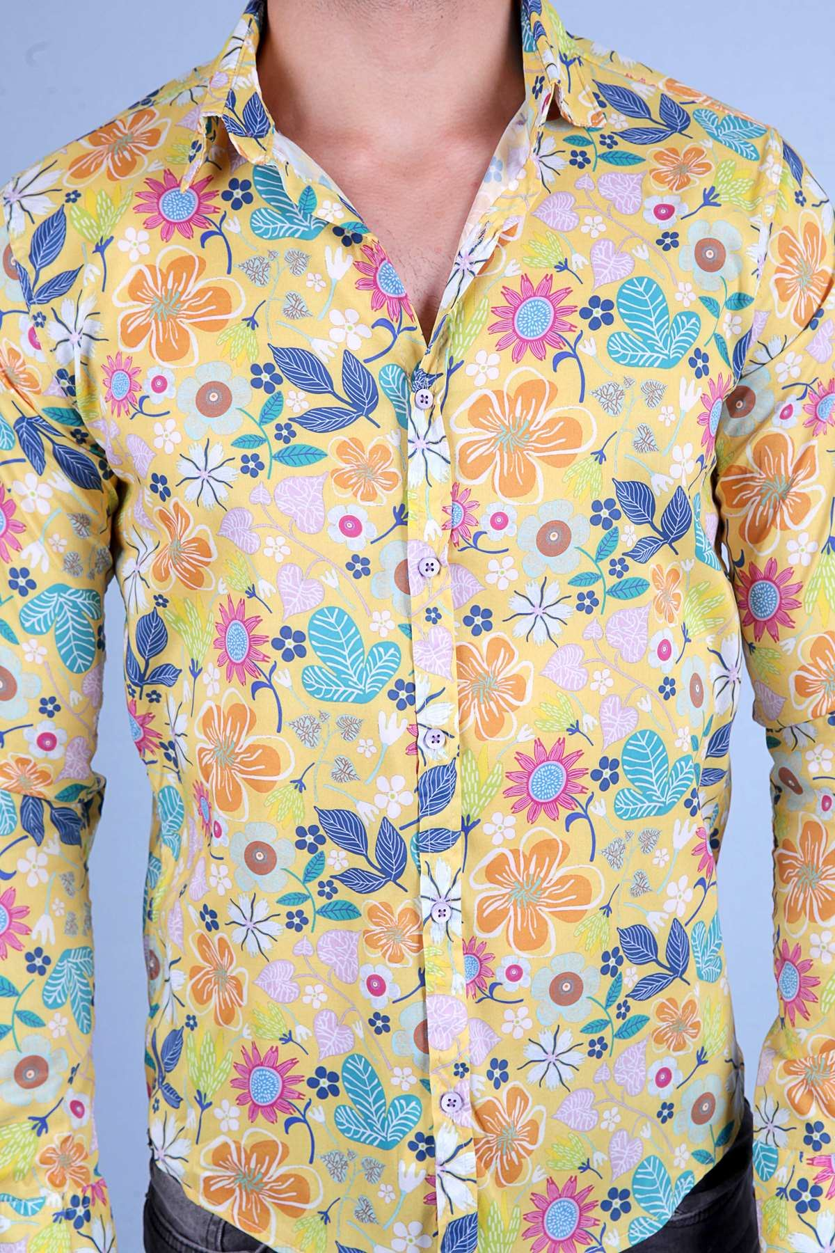 Renkli Karmaşık Çiçek Baskılı Digital Uzun Kol Gömlek Sarı