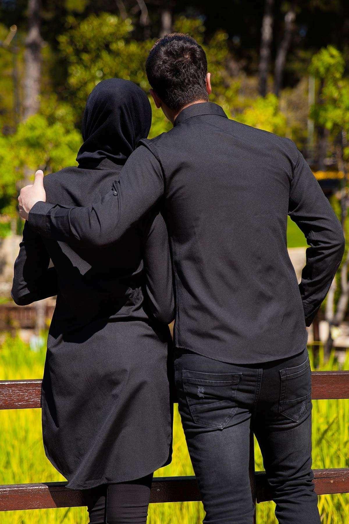 Sade Düz Tesettür Sevgili Kombini Siyah