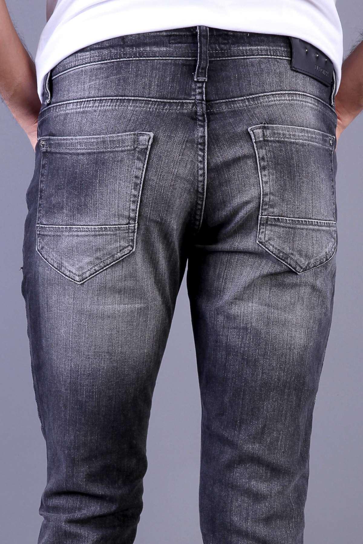 Sıçratma Boyalı Diz Yırtıklı Slim Fit Kot Pantolon Antrasit