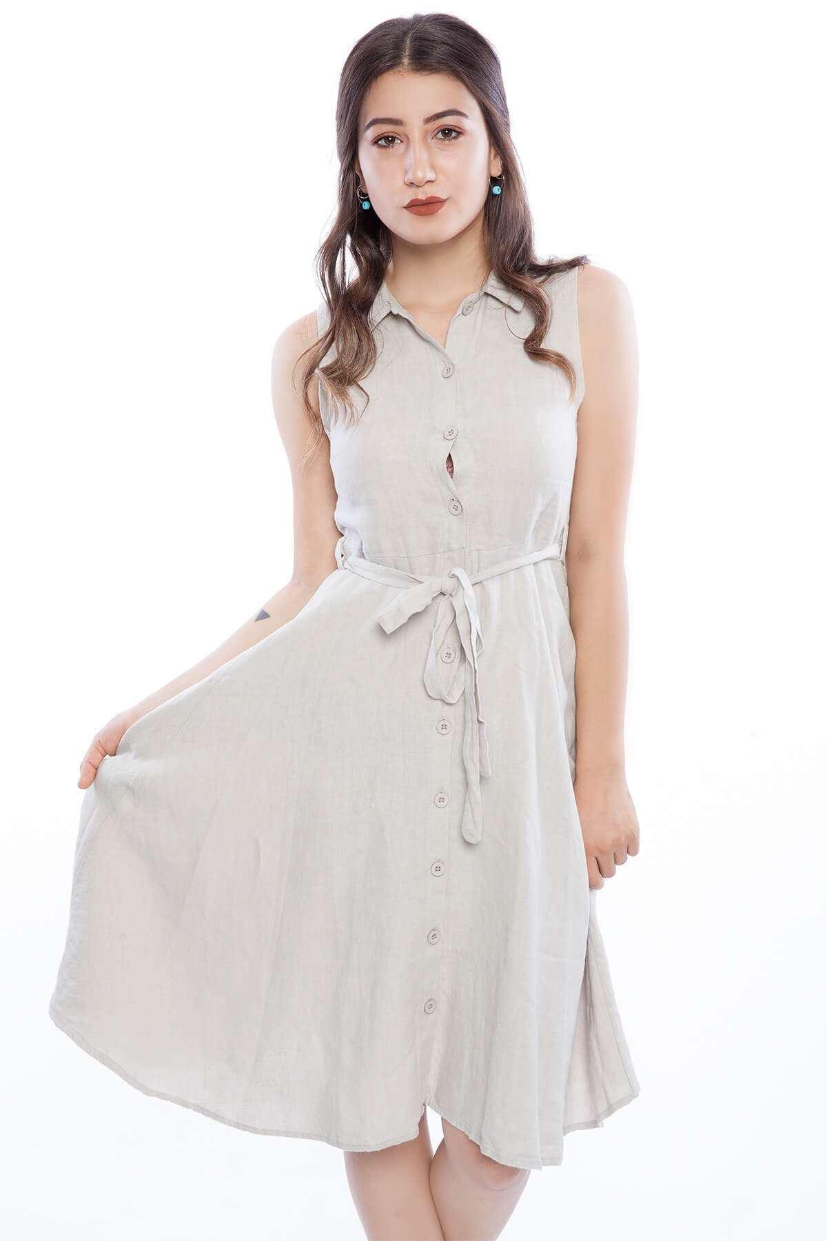 Sıfır Kollu Mini Düğmeli Elbise Taş