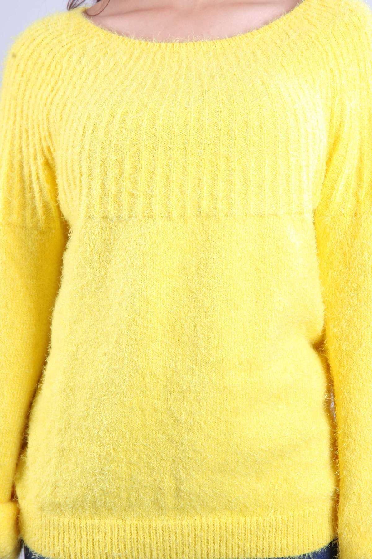 Sakal Örgü Kol Büzgülü Salaş Triko Sarı