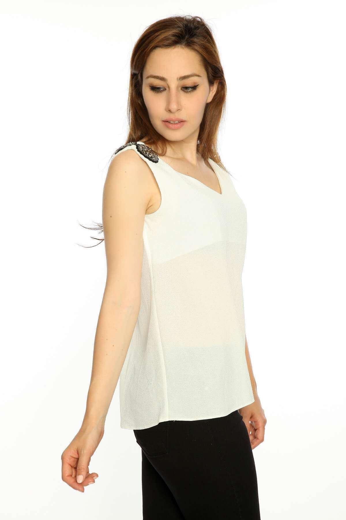 Sıfır Kol Omuz Apolet Bluz Beyaz
