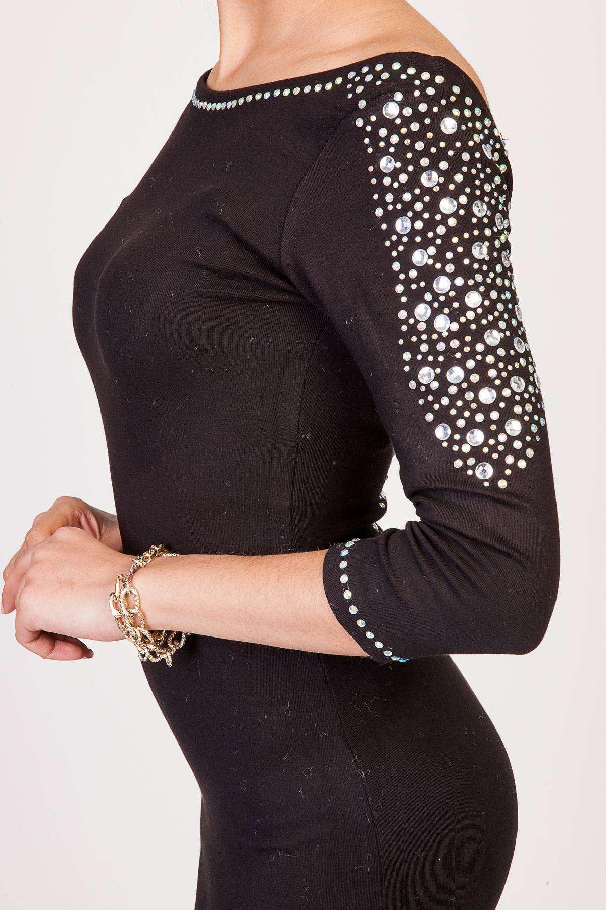 Sırt Kol Omuz Taş Detaylı Sırt Dekolteli Gez Kol Elbise Siyah