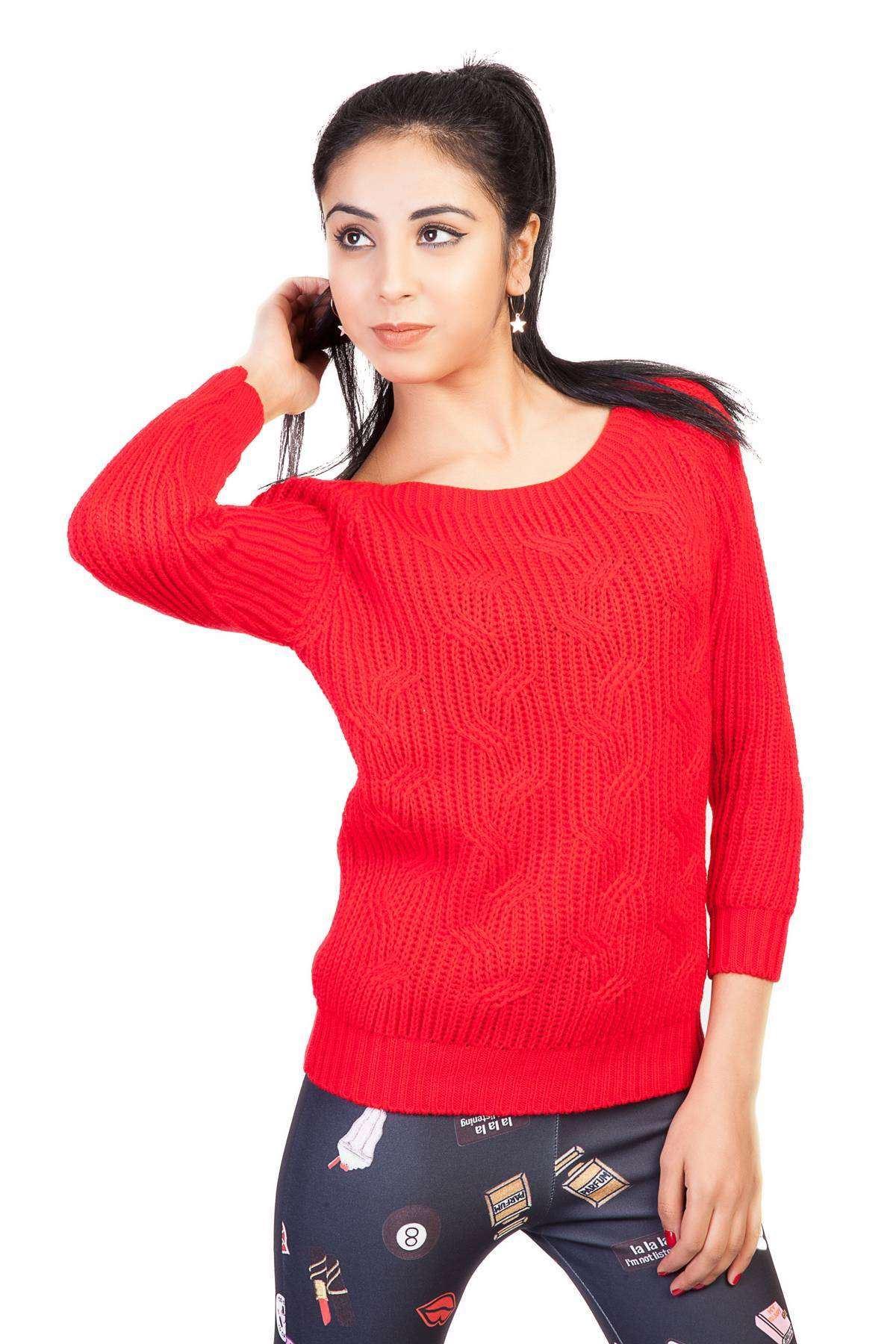 Saç Örgü Desenli Kol Fitil Detaylı Zincirleme Triko Kırmızı