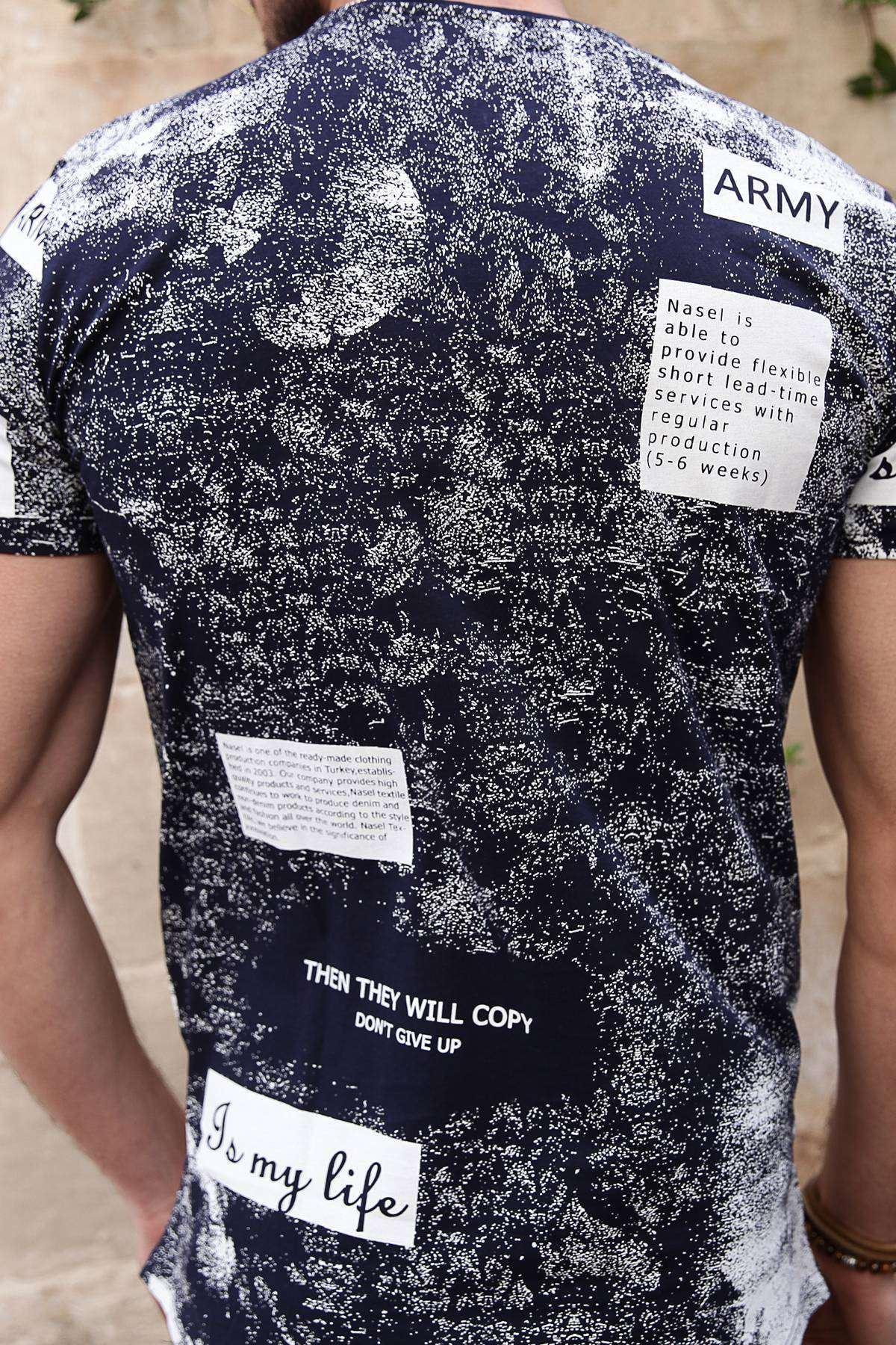 Serpme Boya Baskılı Army Yazılı Slim Fit Tişört Lacivert