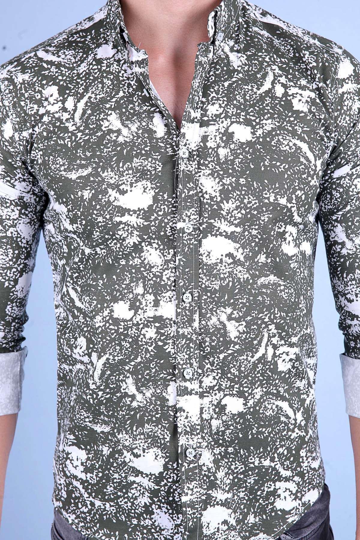 Serpme Desenli Uzun Kol Slim Fit Gömlek Haki