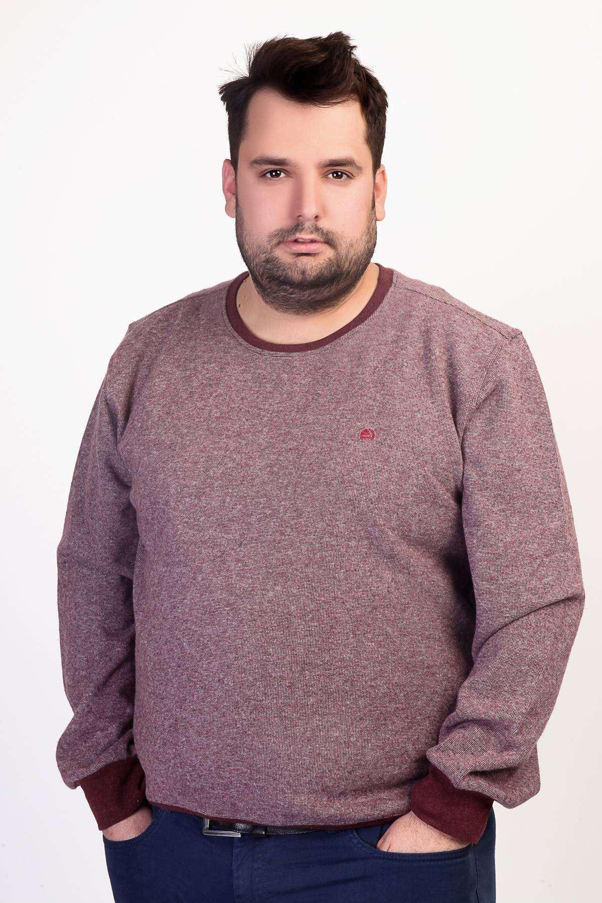 Sıfır Yaka Selanik Kırçıllı Süper Battal Sweatshirt Bordo