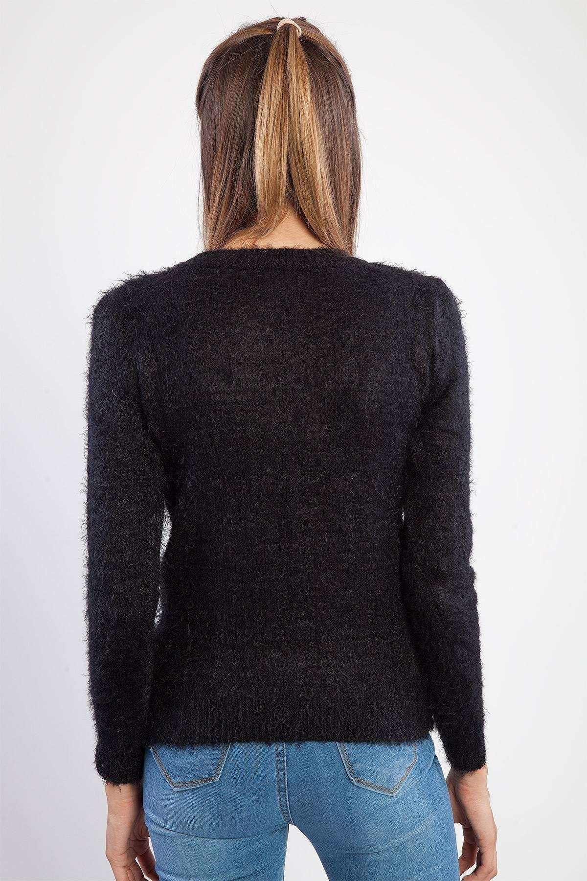 Sakallı Yakası Gül Detaylı Triko Siyah