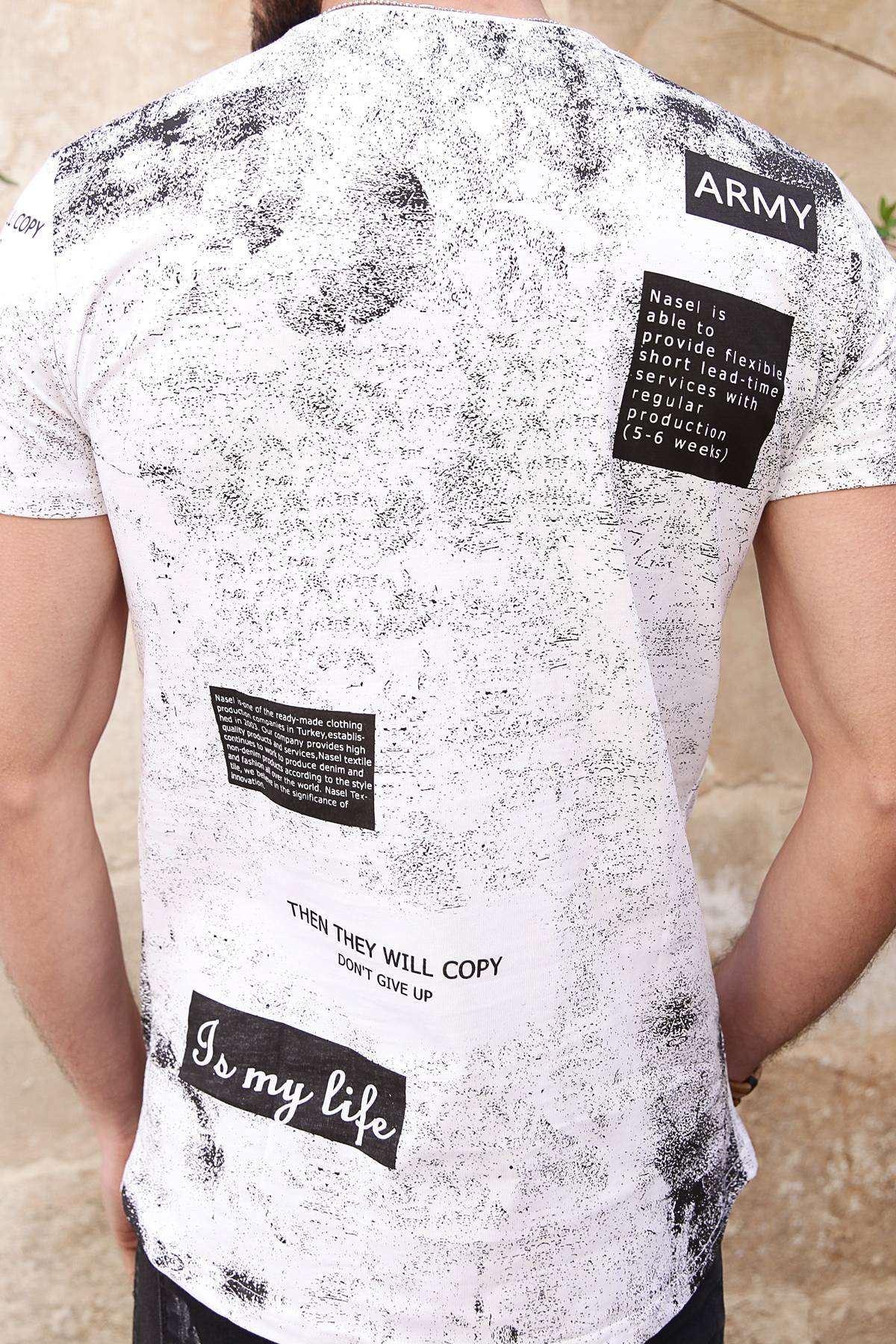 Serpme Boya Baskılı Army Yazılı Slim Fit Tişört Beyaz