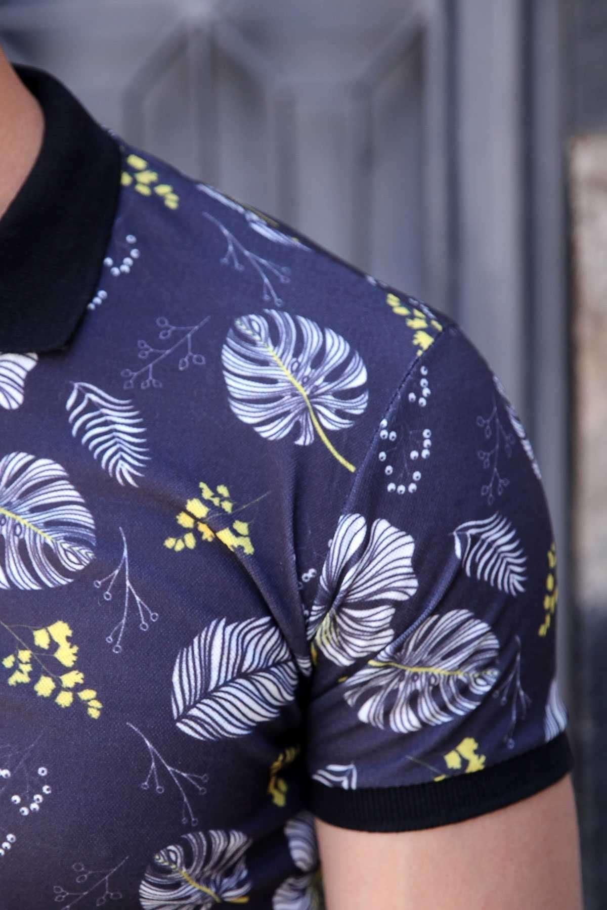 Sarı Çiçek Baskılı Polo Yaka Slim Fit Tişört Lacivert