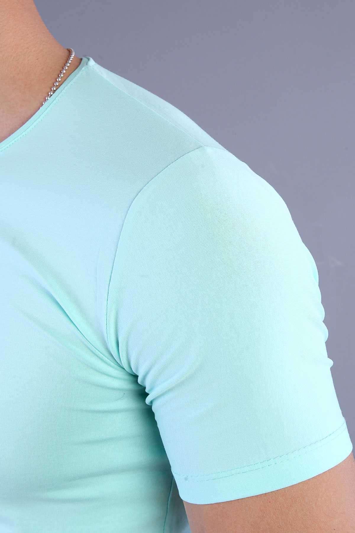 Sakallı Adam Baskılı Sıfır Yaka Tişört Mint