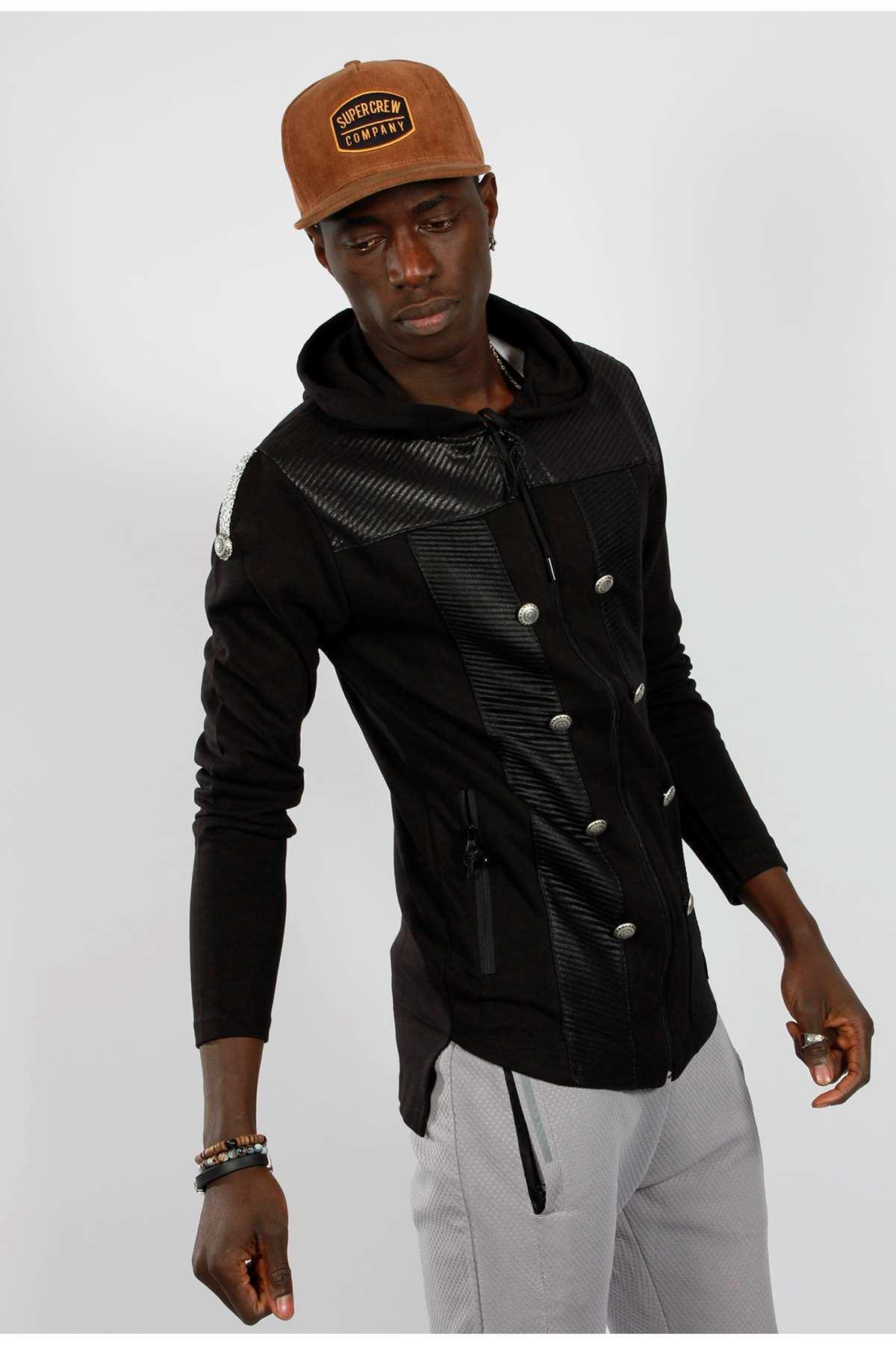 Süs Düğmeli Cep Fermuarlı Kapşonlu Sweatshirt Siyah